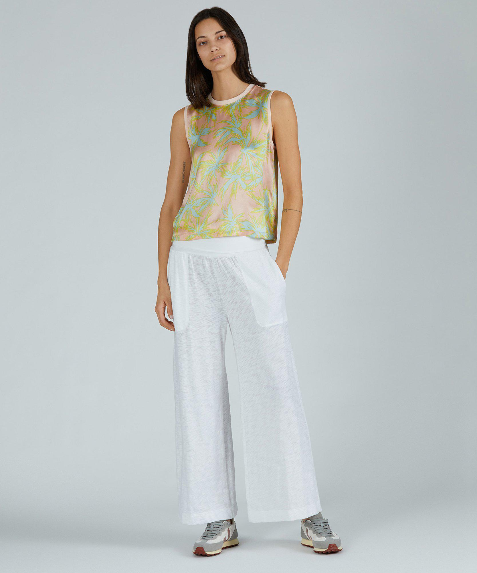 Palm Print Silk Charmeuse Cropped Muscle Tee - Shell Combo 3