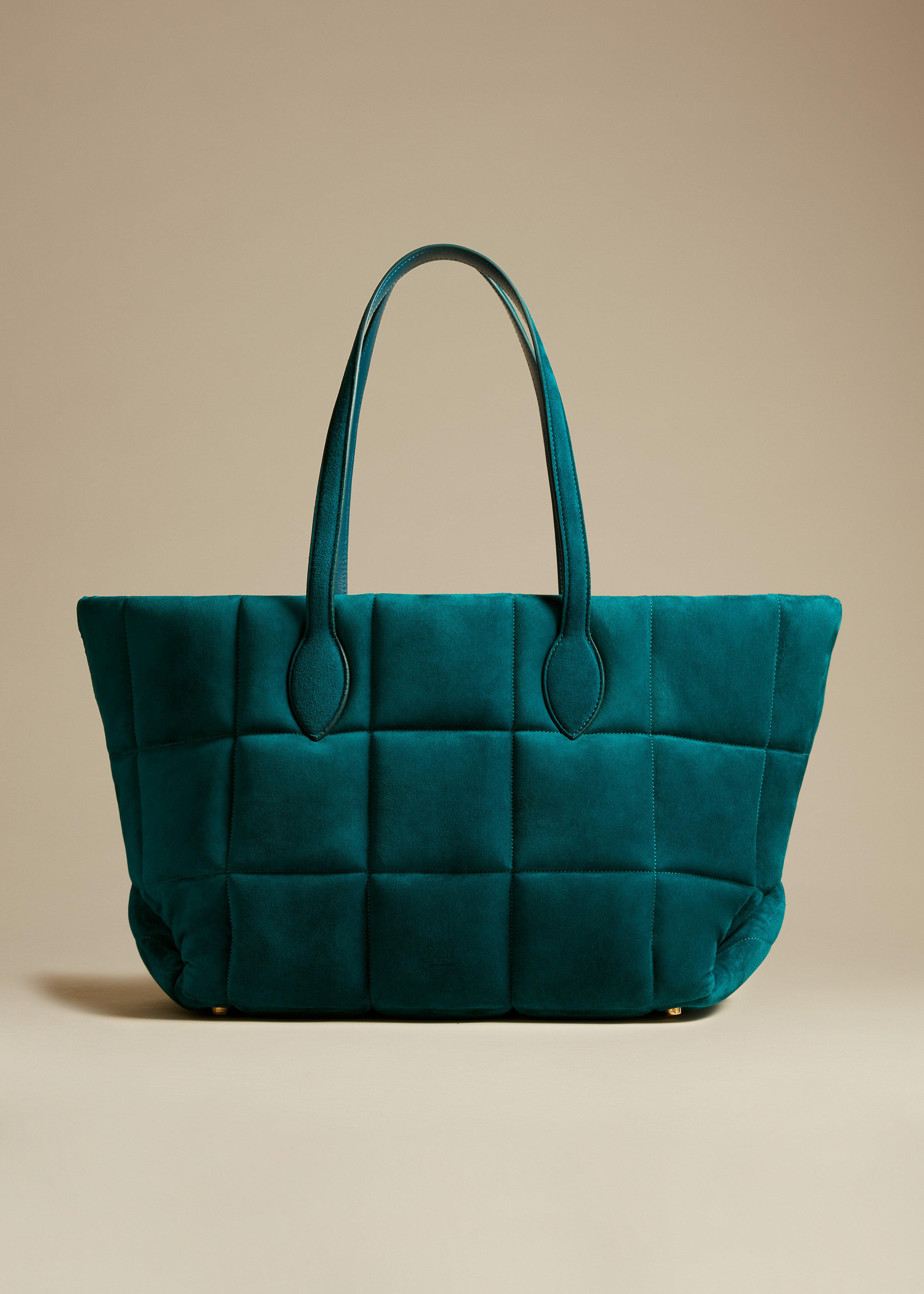 The Florence Quilted Tote in Dark Teal Suede