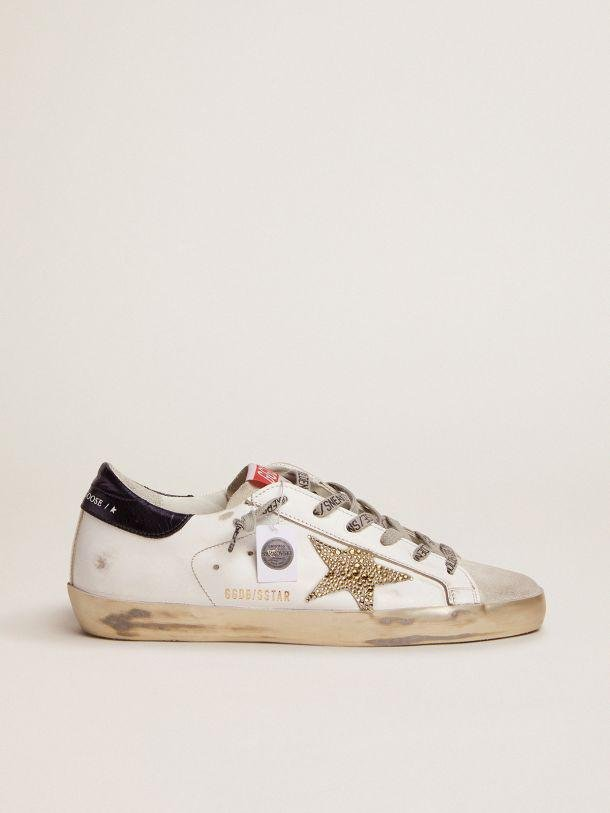 Super-Star LTD sneakers with navy-blue laminated leather heel tab and Swarovski crystal star