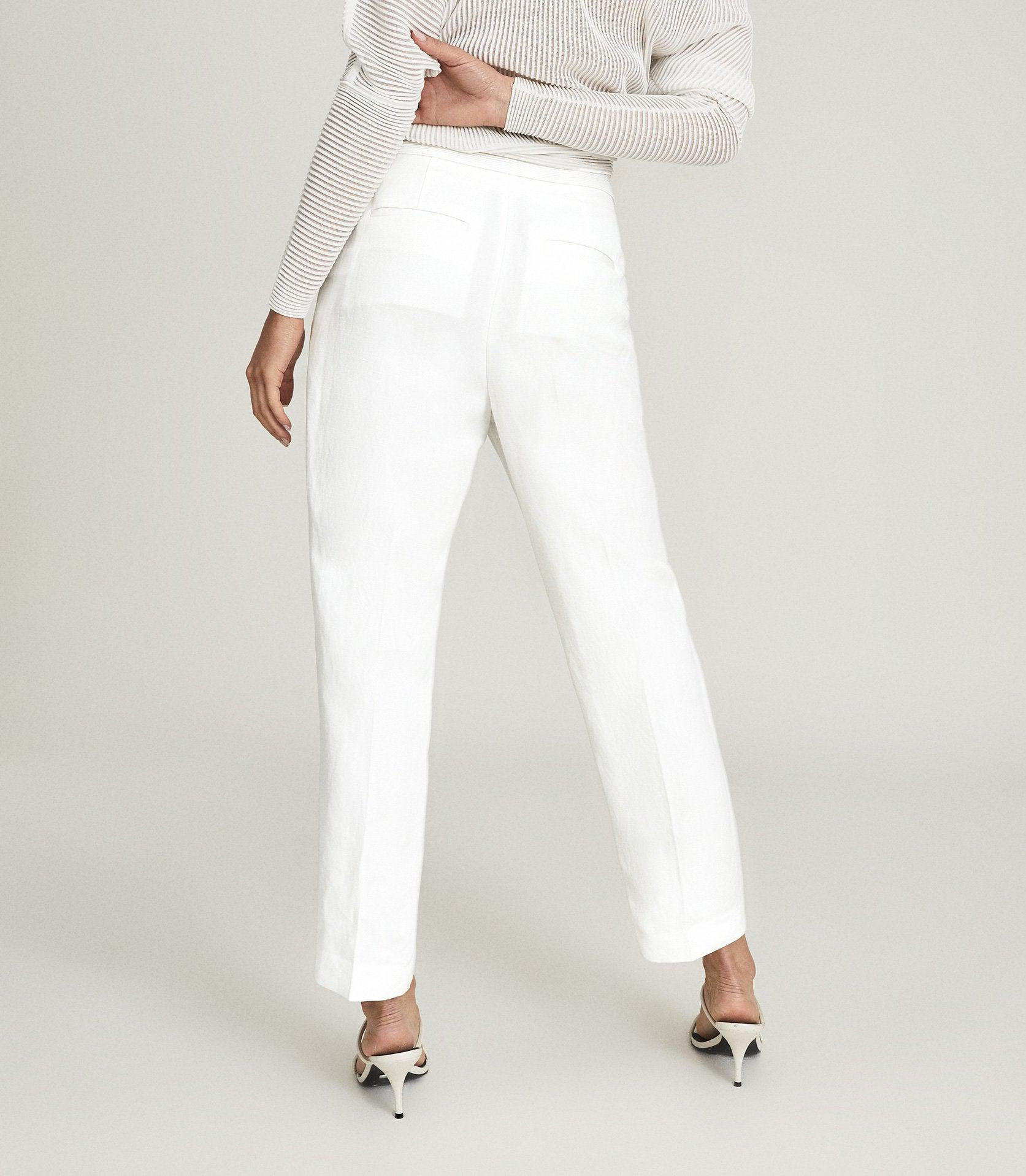 CALLY - LINEN BLEND TROUSERS WITH EXPOSED ZIP 3