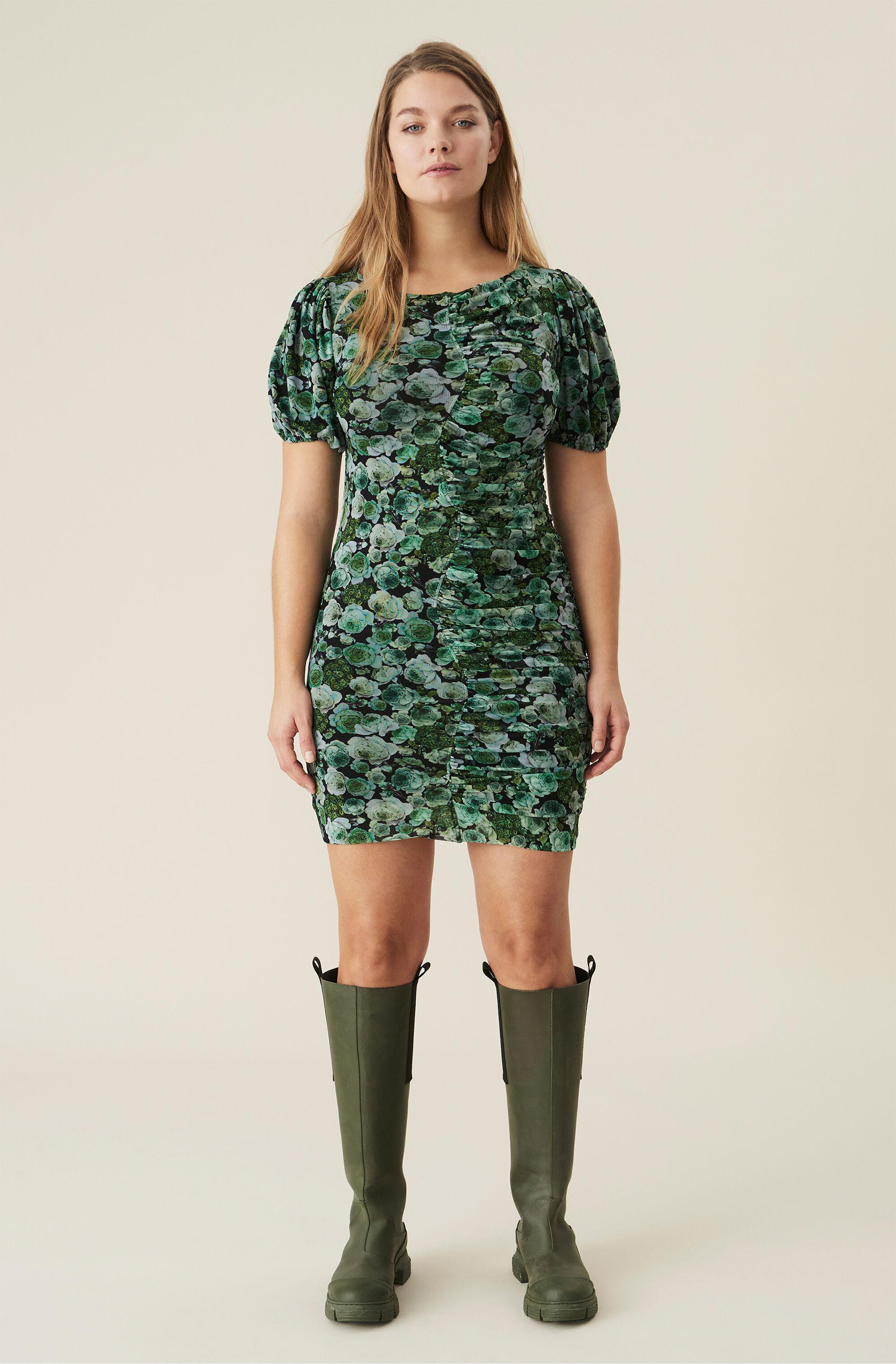 Green Floral Mesh Ruched Mini Dress
