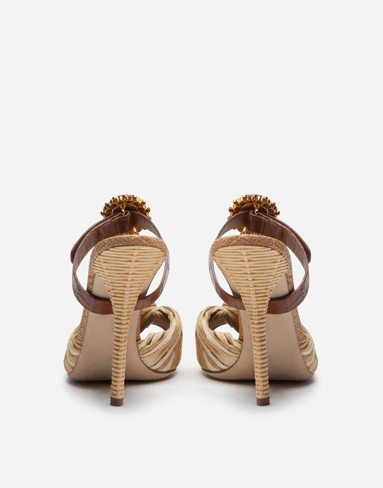 Mules in tropea straw and calfskin with bejeweled buckle 2