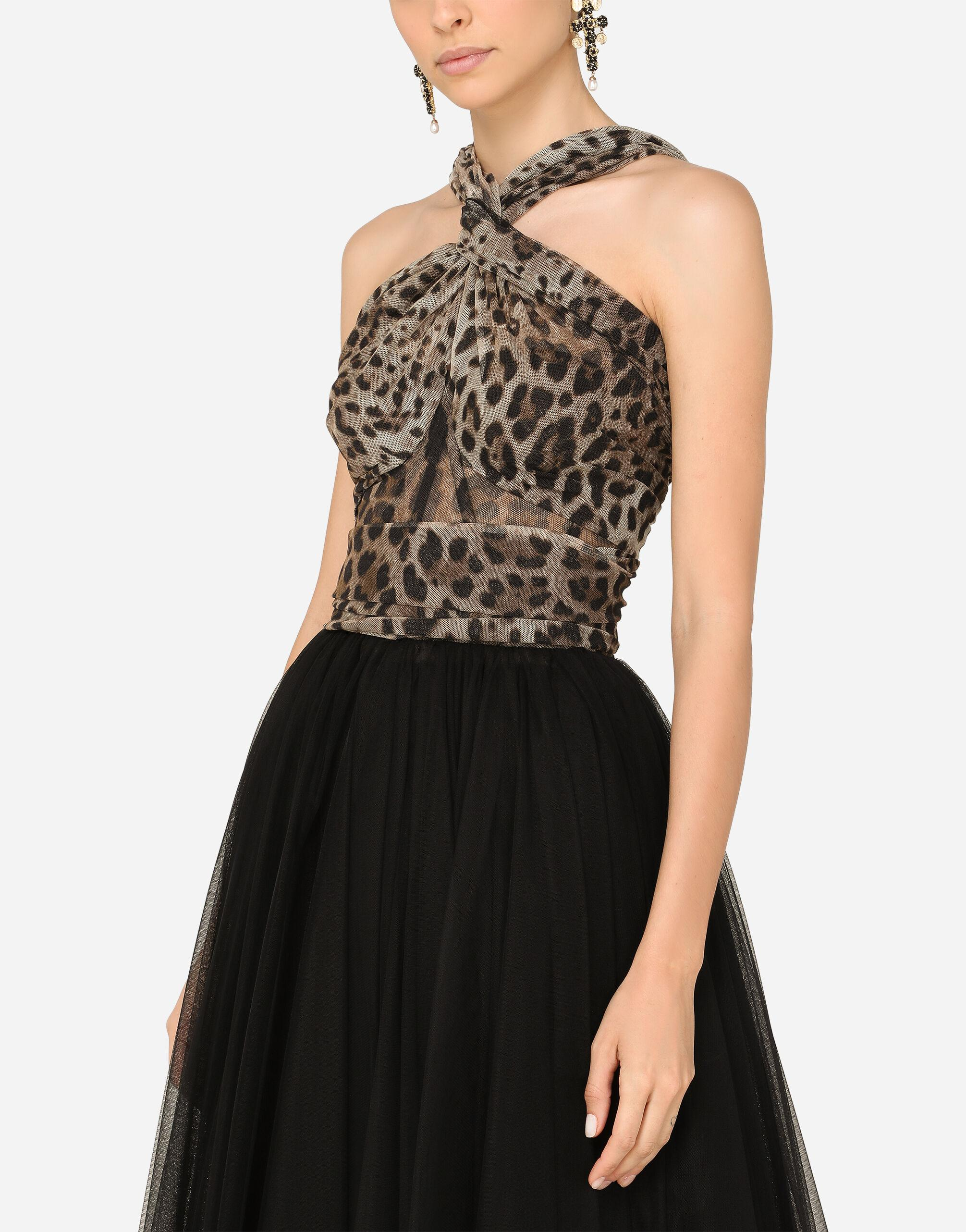 Calf-length dress in leopard-print and solid-colour tulle 2