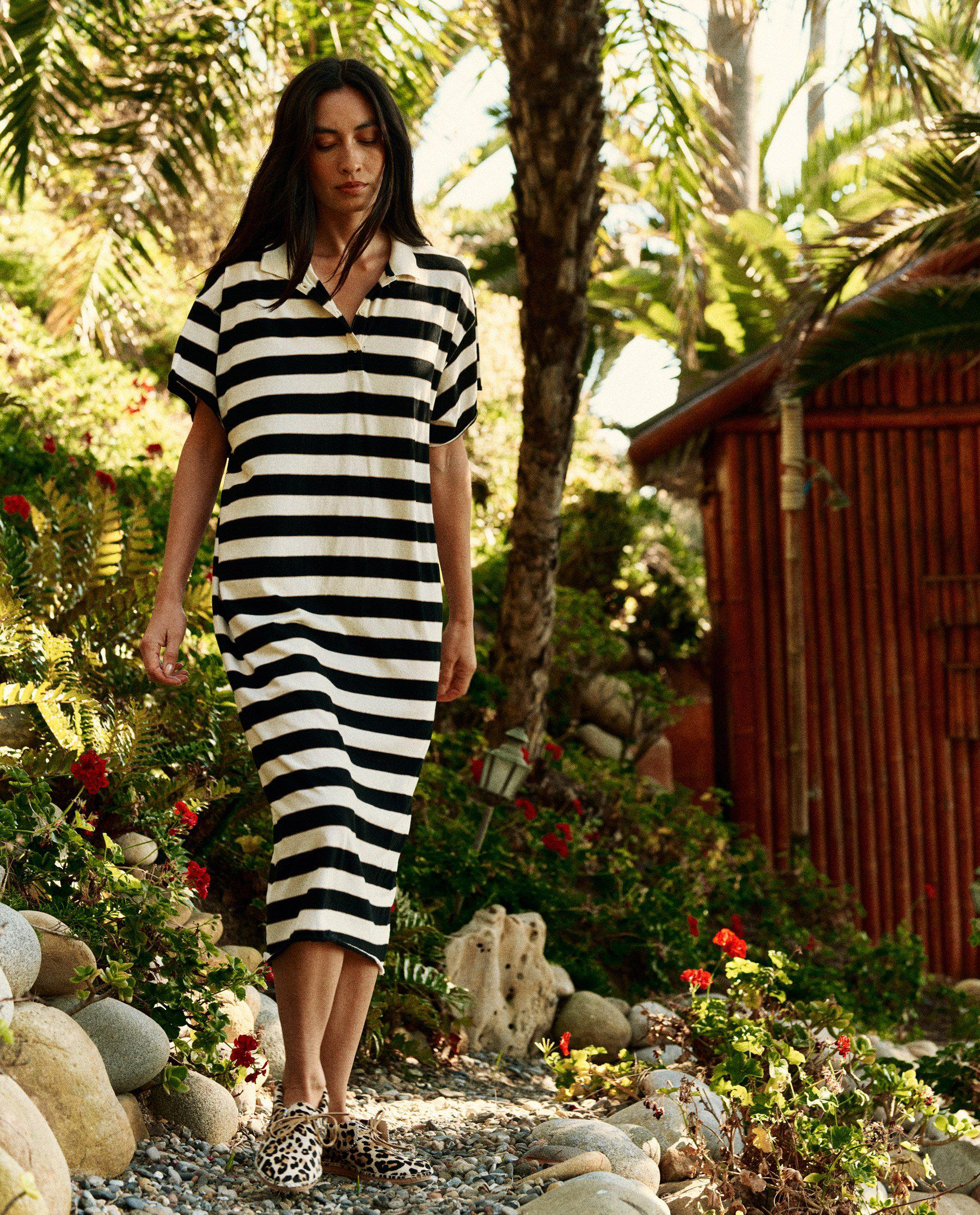 The Polo Dress. -- Black Rugby Stripe 1