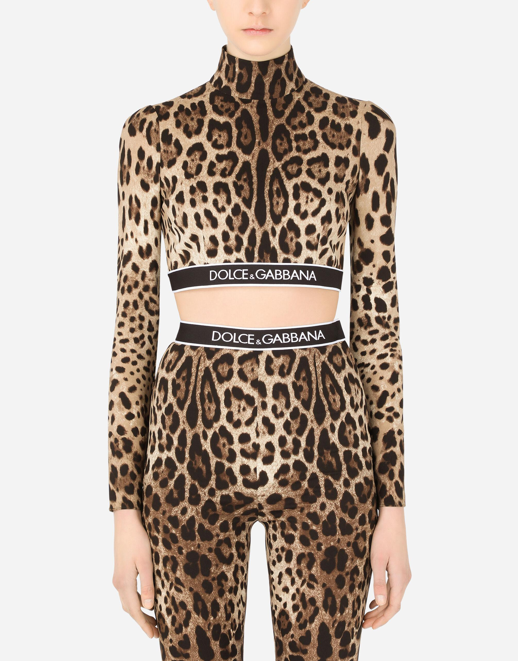 Long-sleeved leopard-print charmeuse top with branded elastic