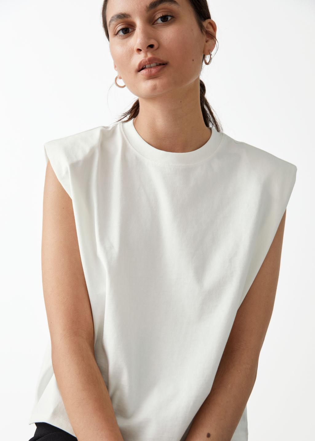 Cropped Padded Shoulder Tank Top