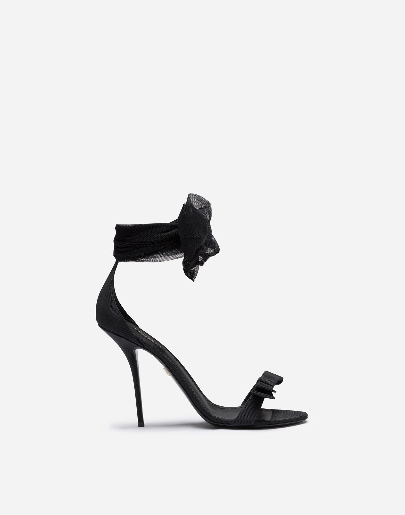 Sandals in stretch tulle and grosgrain