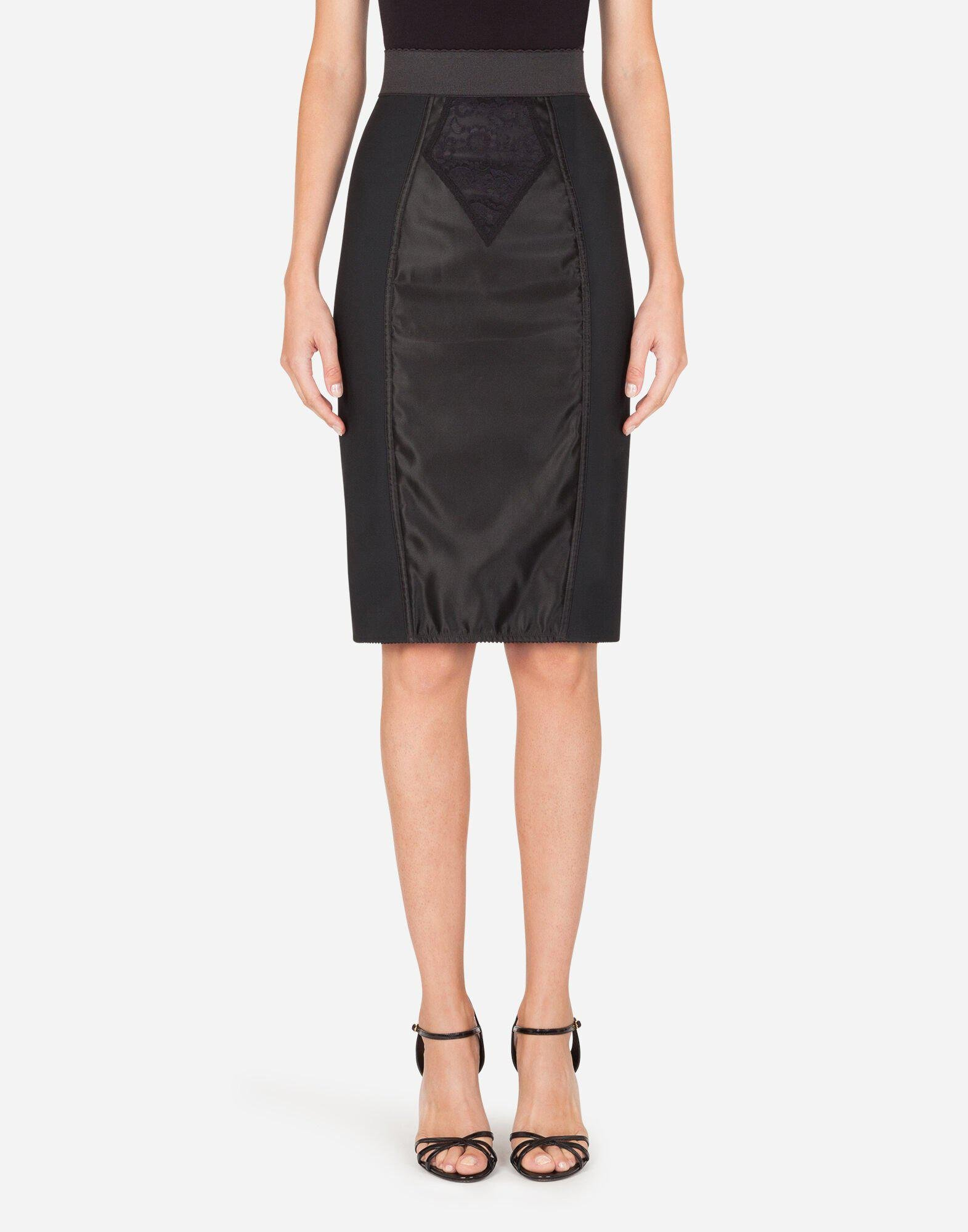 Midi skirt in powernet and satin