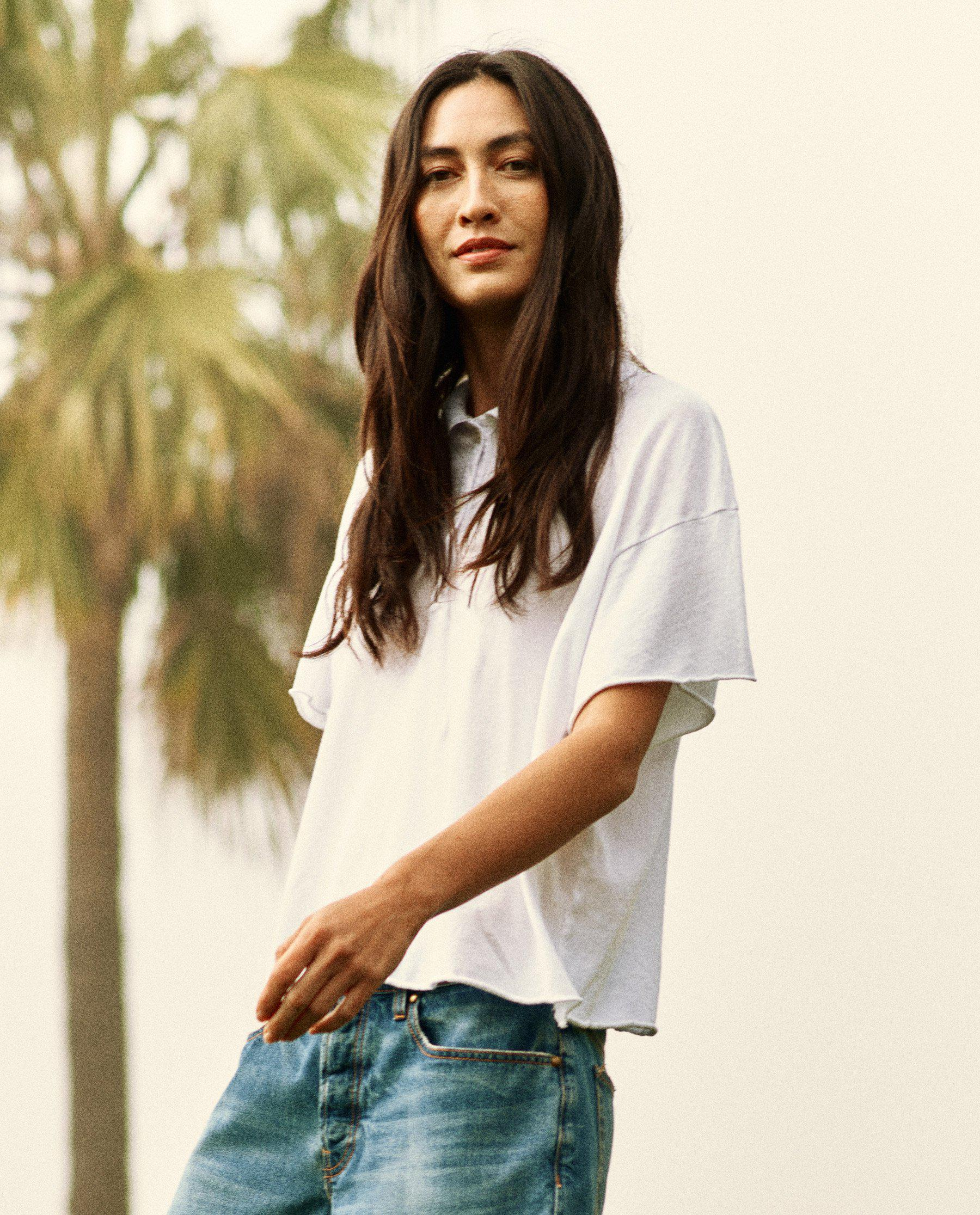 The Cropped Polo Tee. -- True White 1