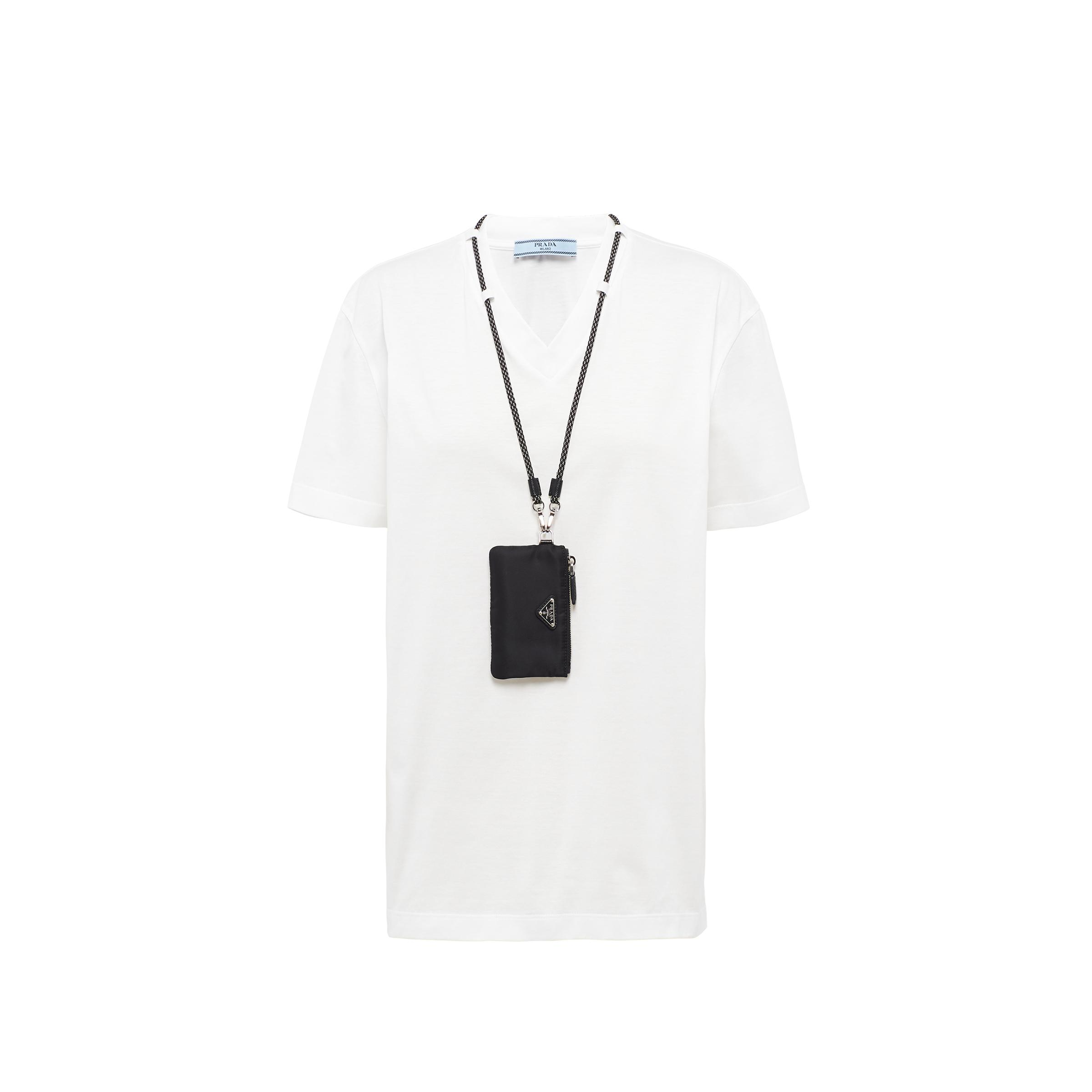 V-neck Jersey T-shirt With Pouch Women White/black