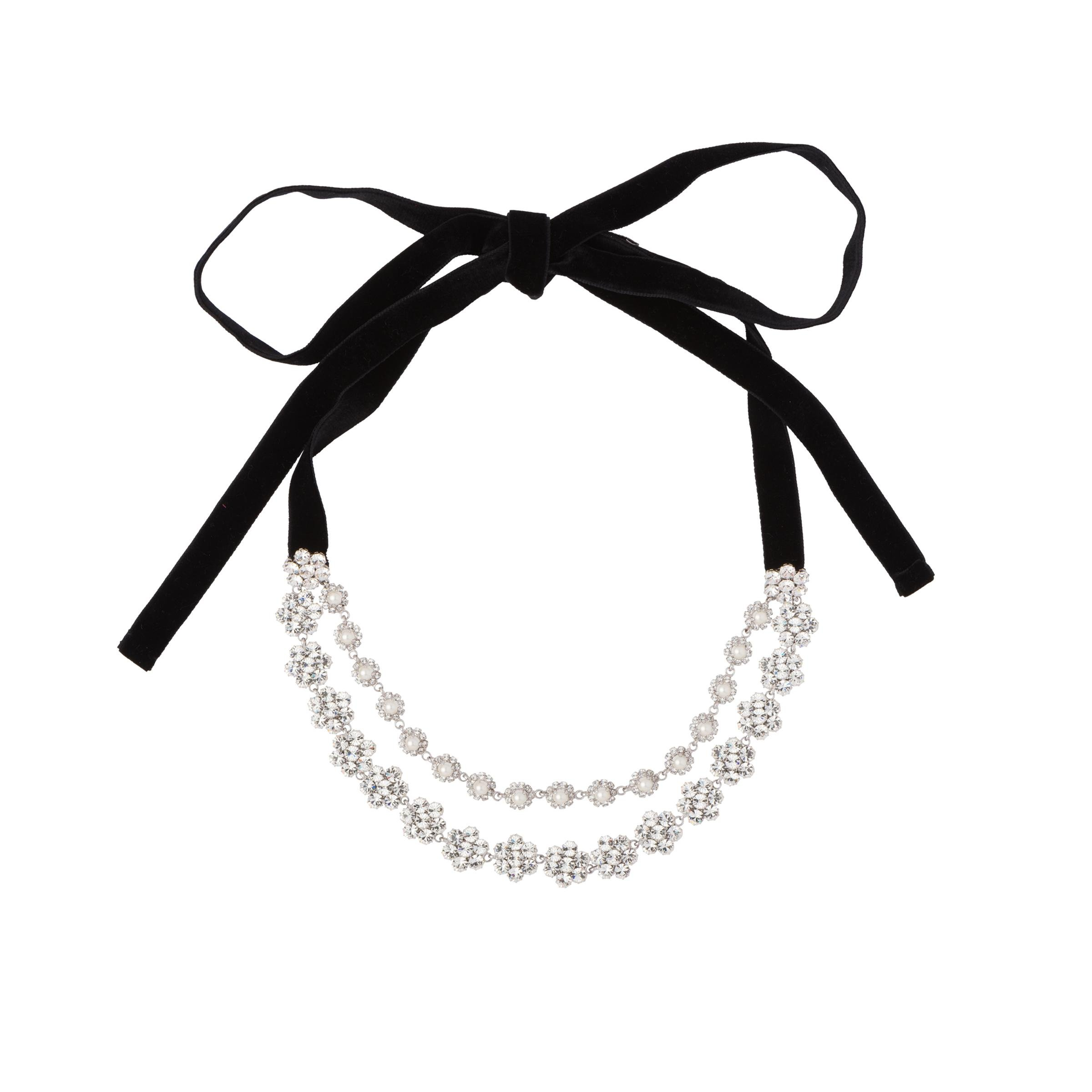 Crystal And Pearl Necklace Women Black