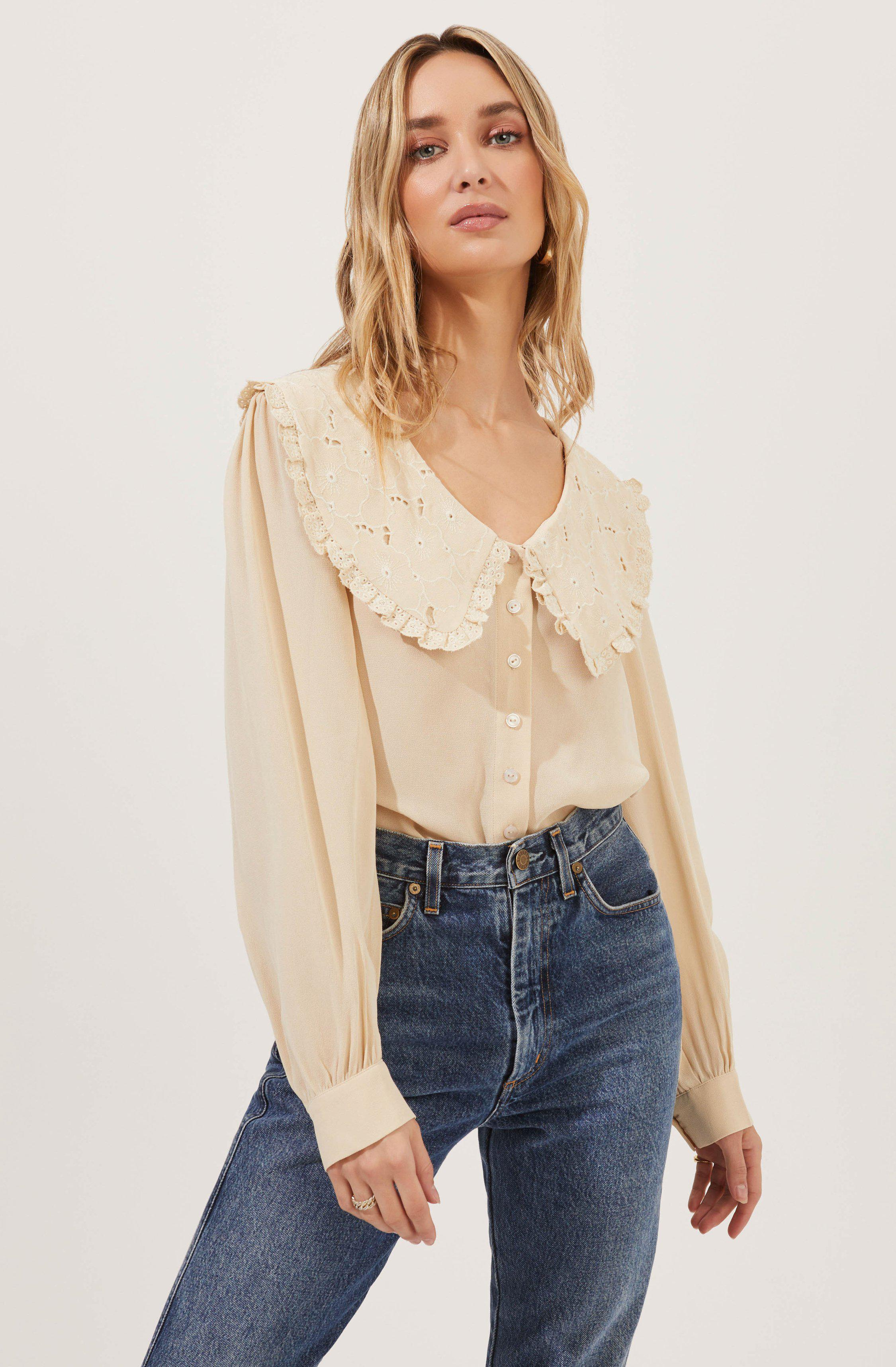 Evelyn Oversized Frilly Collar Button Down Top