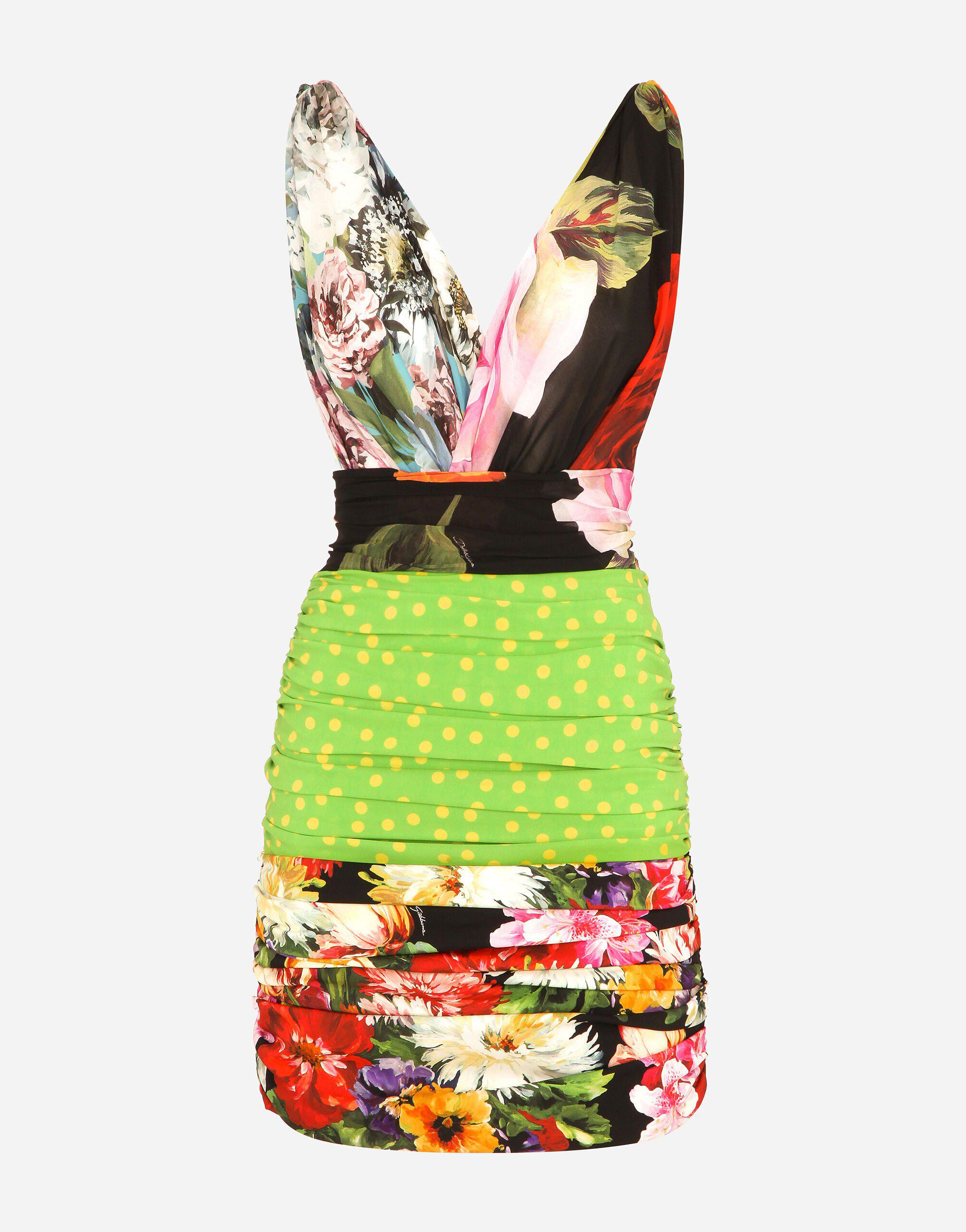 Short patchwork charmeuse and georgette dress 4