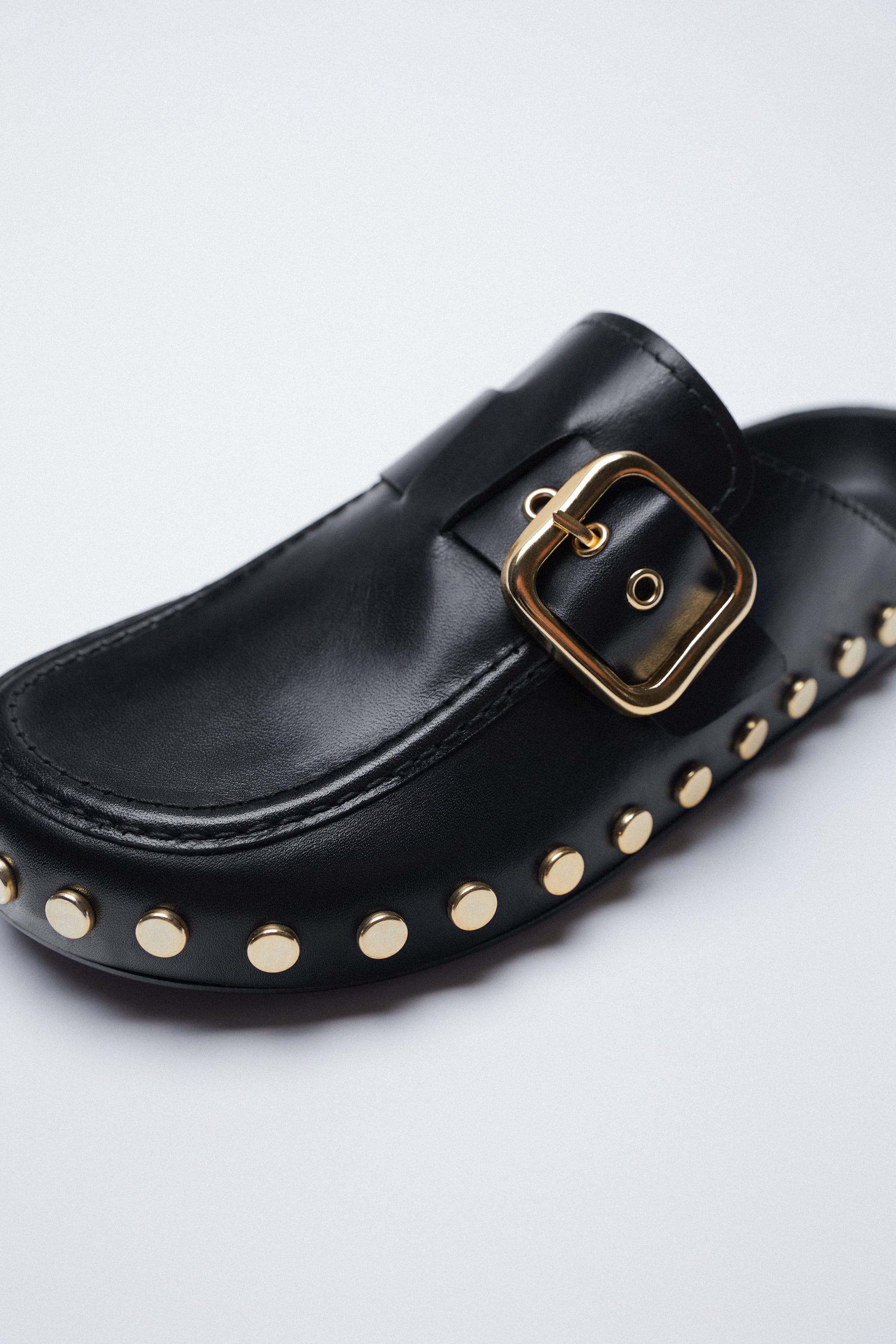 LOW HEEL LEATHER CLOGS WITH STUDS 4