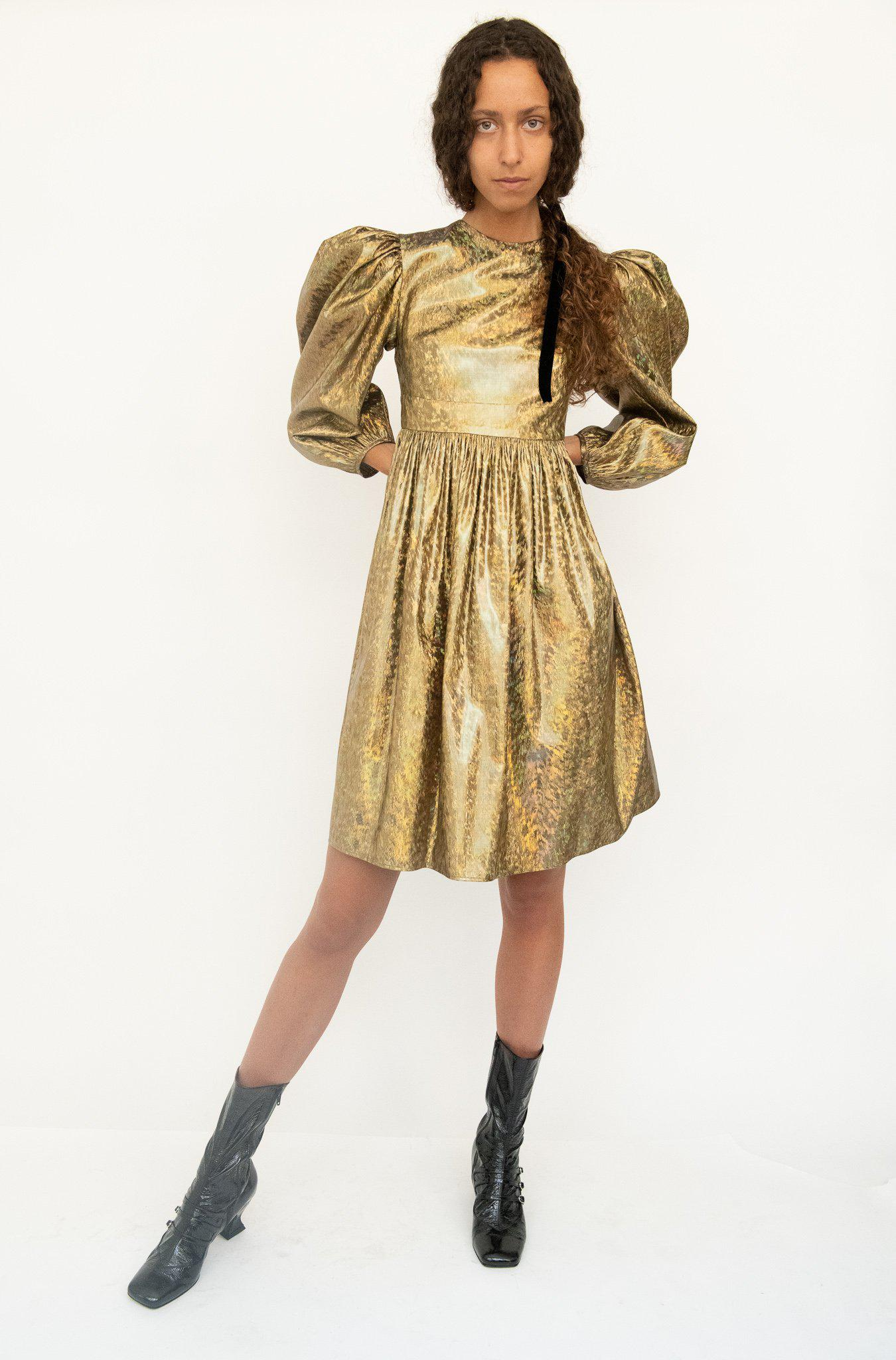 Fraser Dress in Gold Holographic Lamé