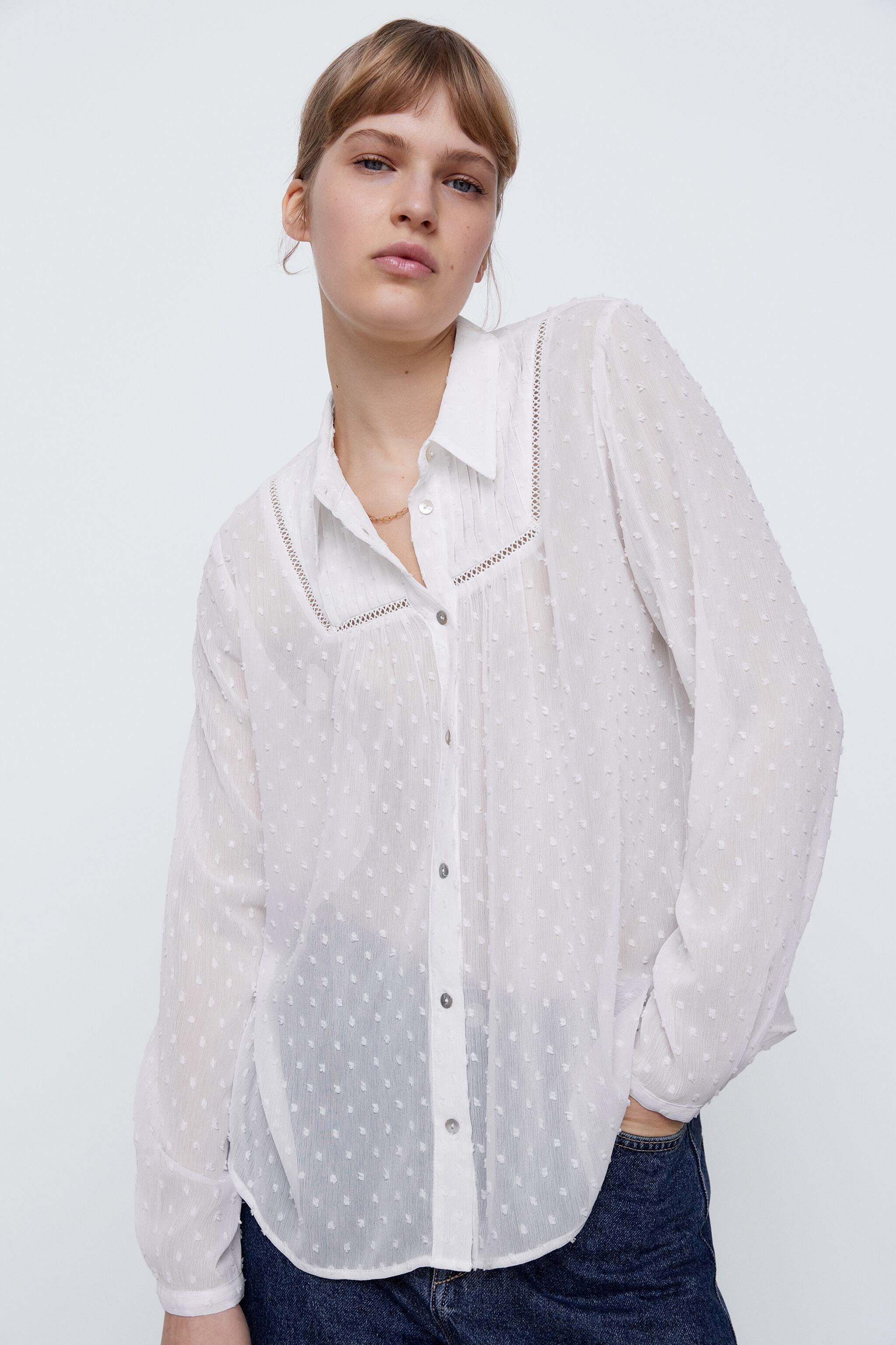 DOTTED MESH LACE INSERT SHIRT 1