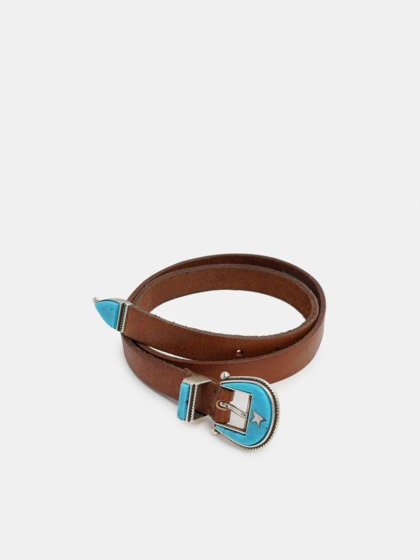 Rodeo belt in leather with blue buckle
