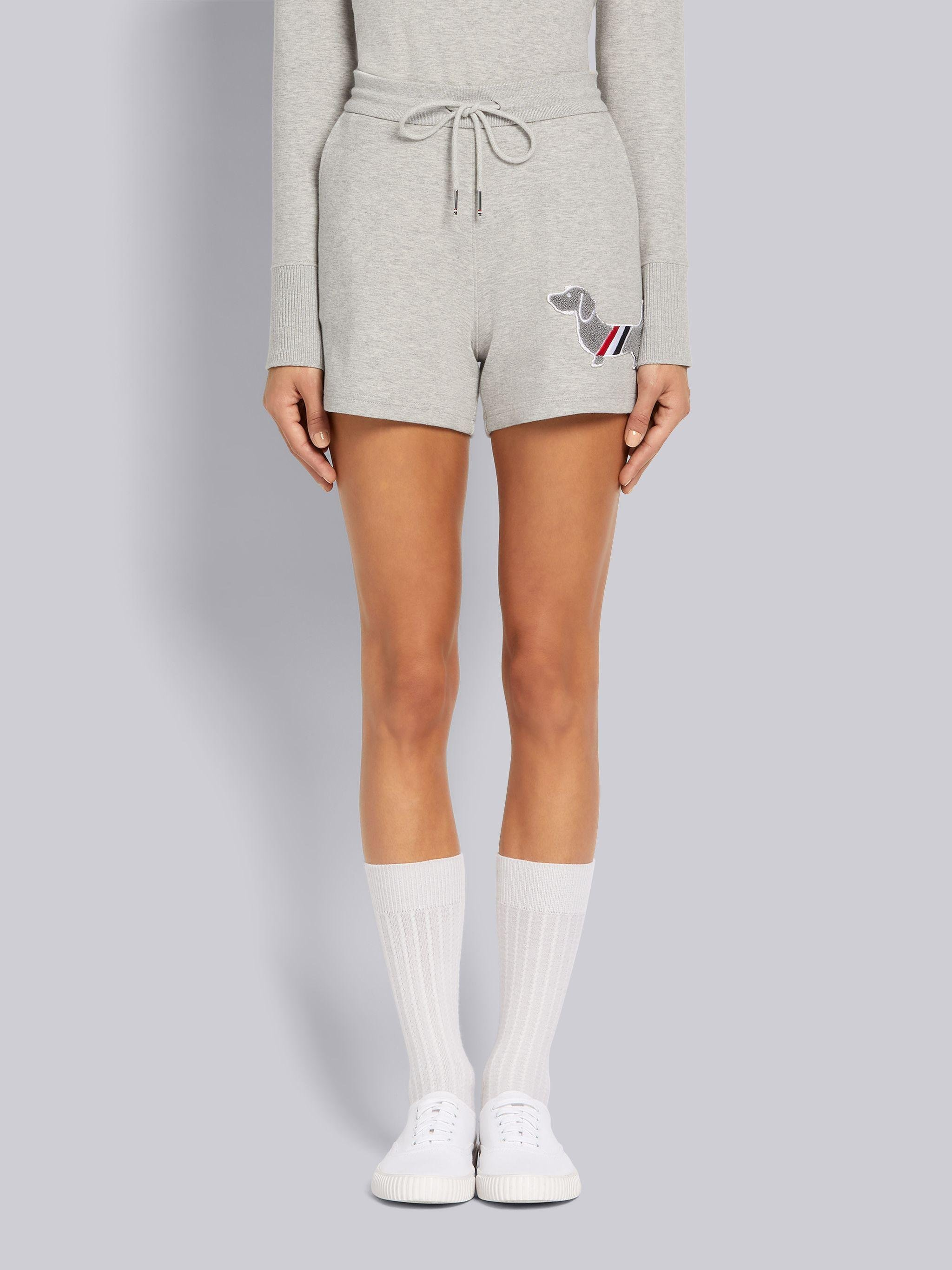 Grey Cotton Milano Stitch Hector Chenille Patch Shorts