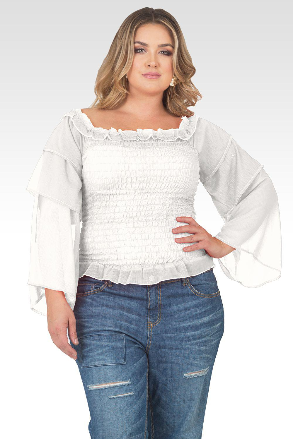 Plus Size Jessa Smocked Tiered Sleeve Top - Off-White