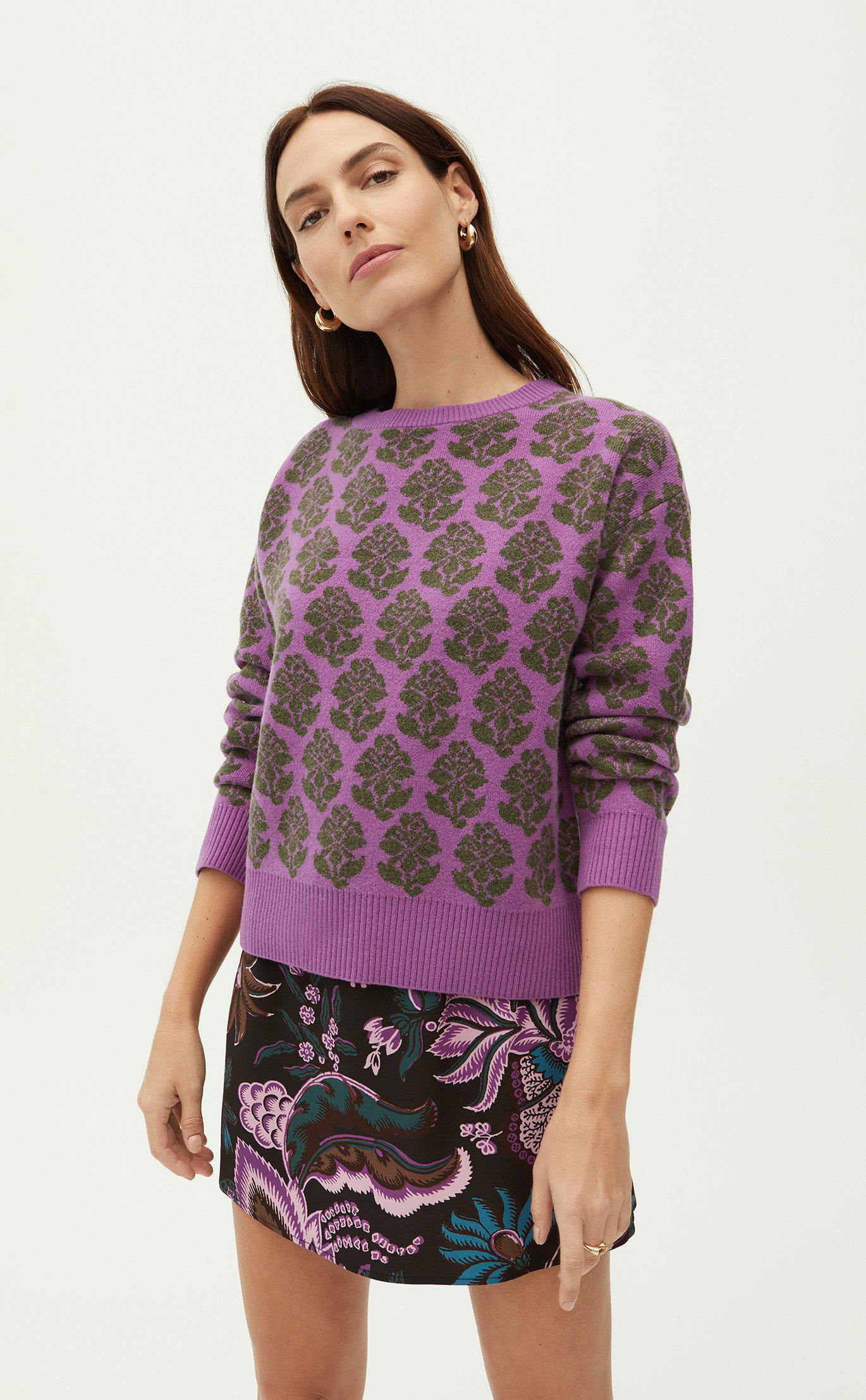 Tate Sweater | Floral Stamp Green
