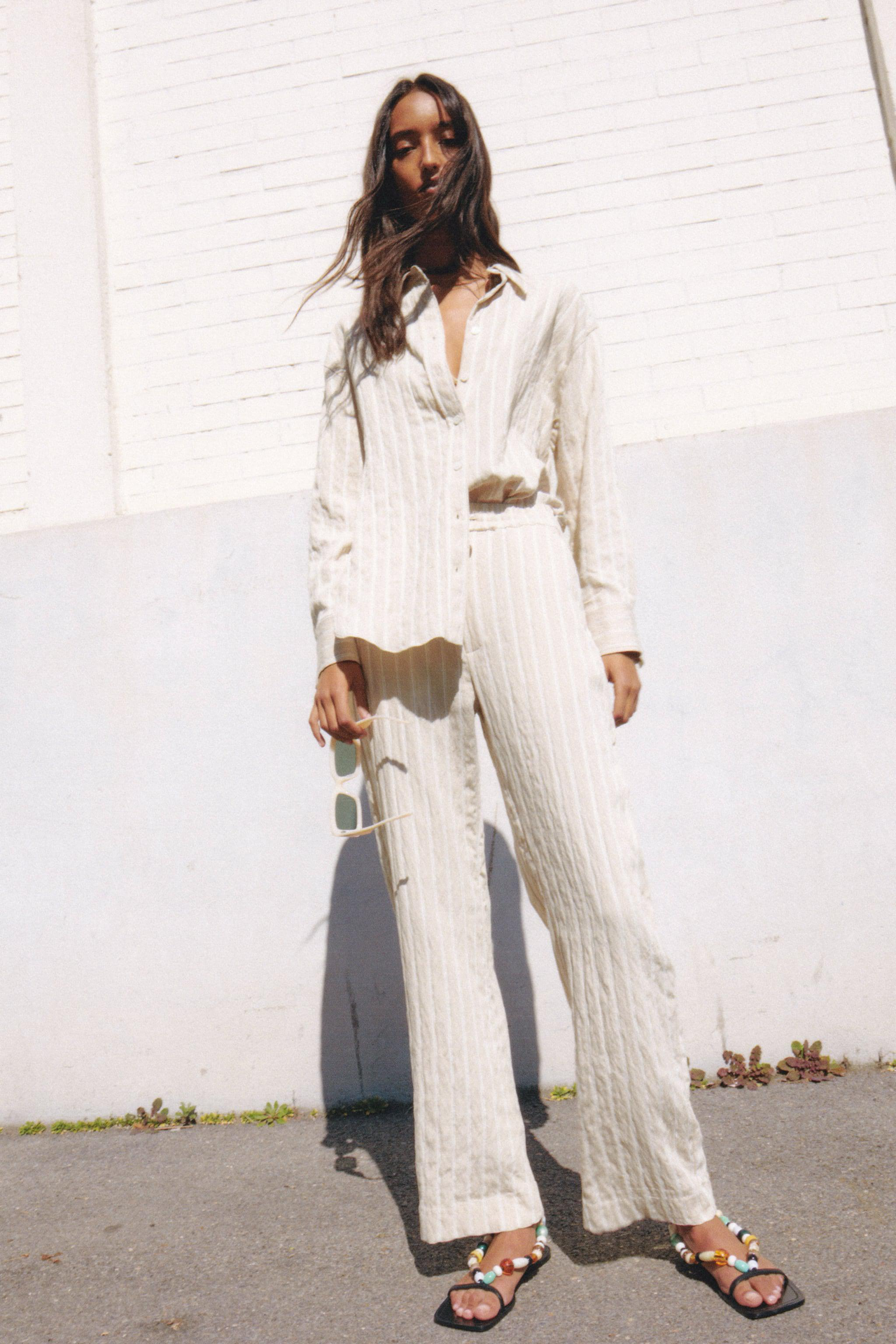 STRIPED TEXTURED WEAVE PANTS