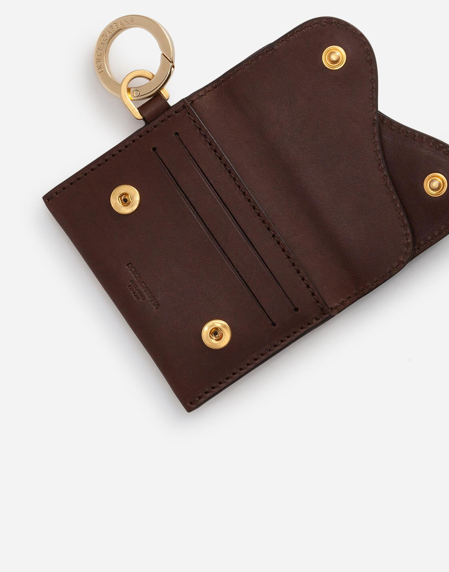 Biker credit card holder in cowhide with stud embroidery 3