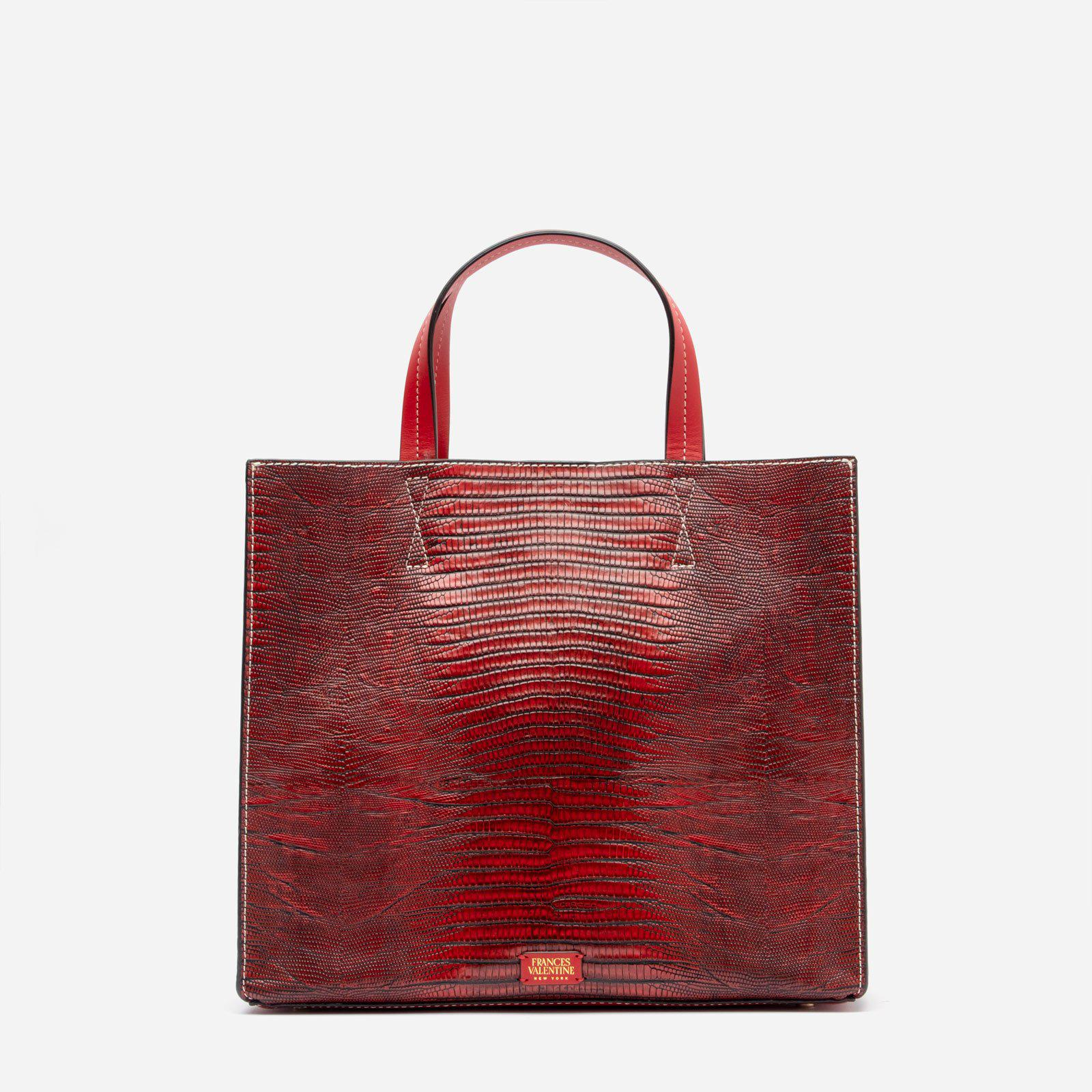 Margo Tote Lizard Embossed Leather Red