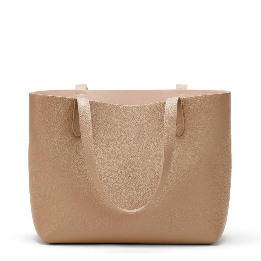 Women's Small Structured Leather Tote Bag in Cappuccino/Blush Pink | Pebbled Leather by Cuyana