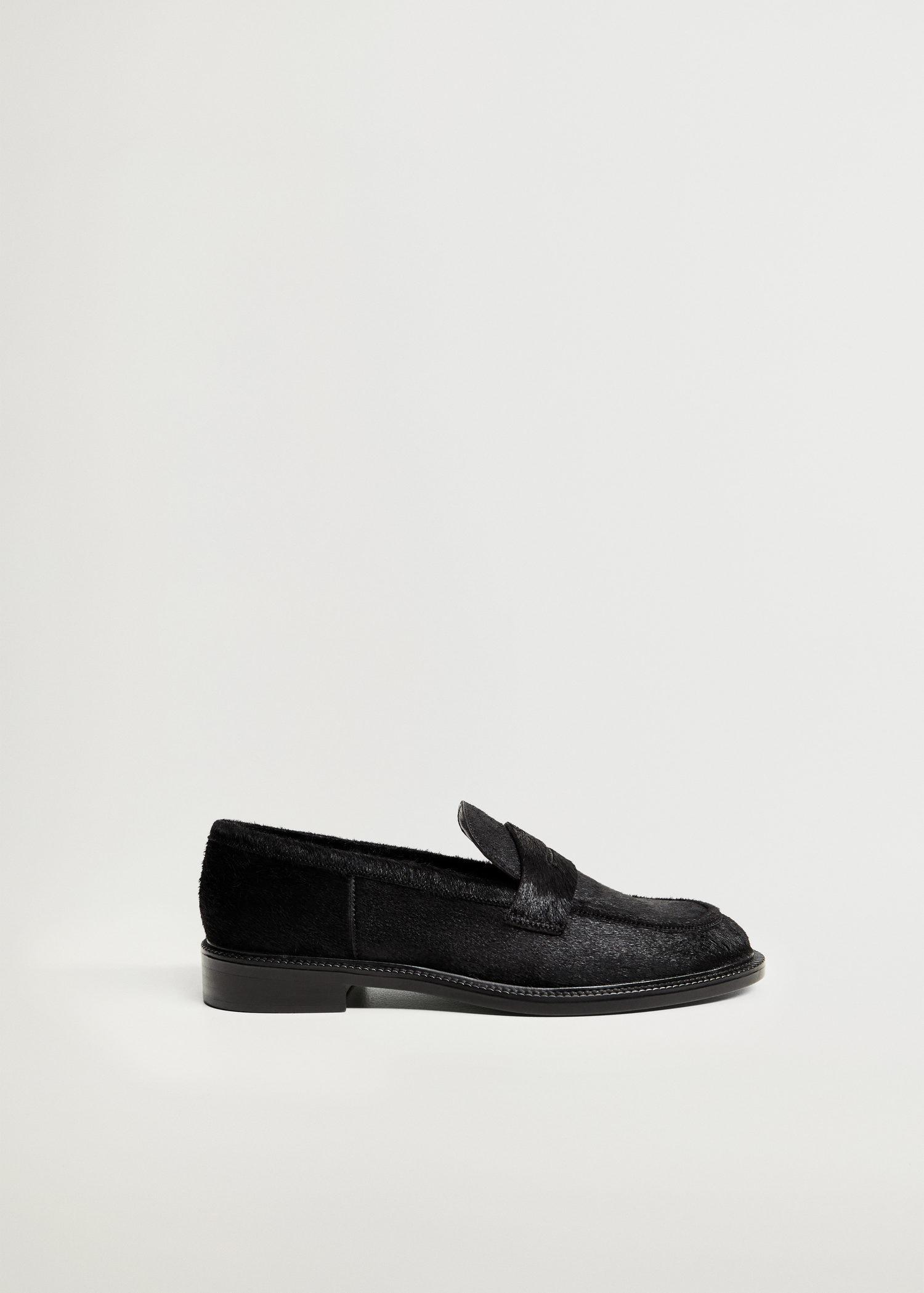 Fur leather loafers
