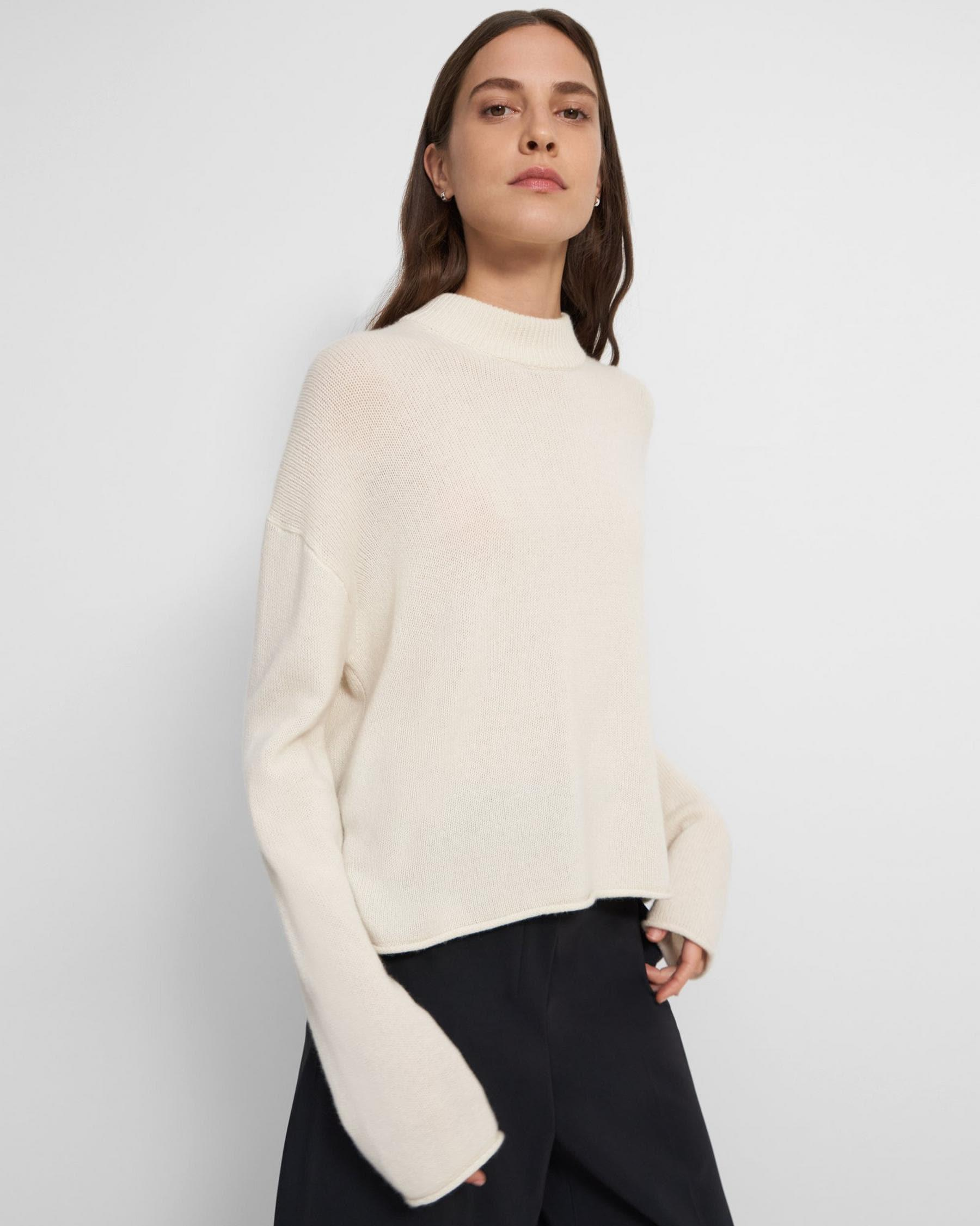 Cropped Mock Neck Sweater in Cashmere