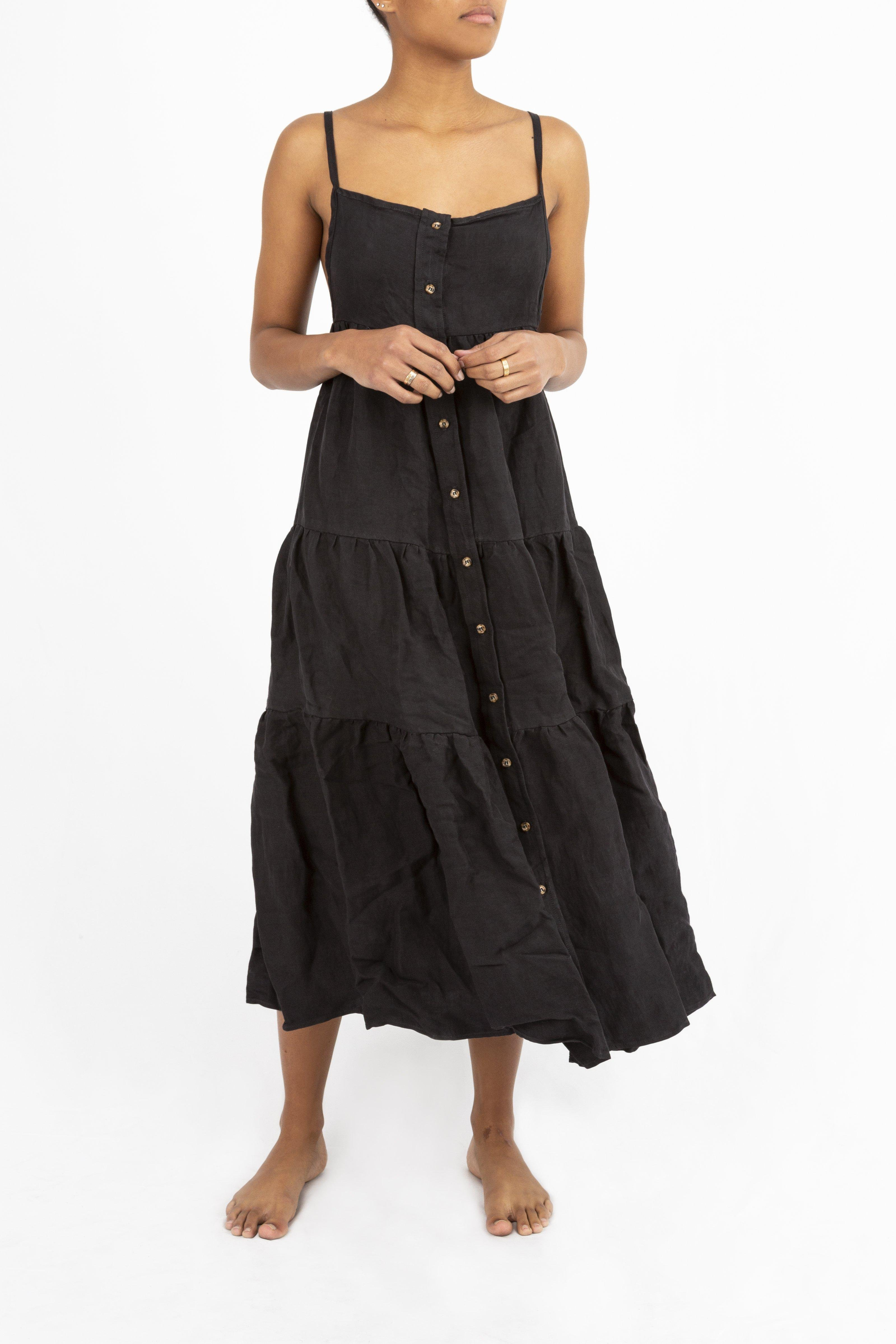 The Flounce Tiered Button-Down Midi Dress in Linen Cupro 2