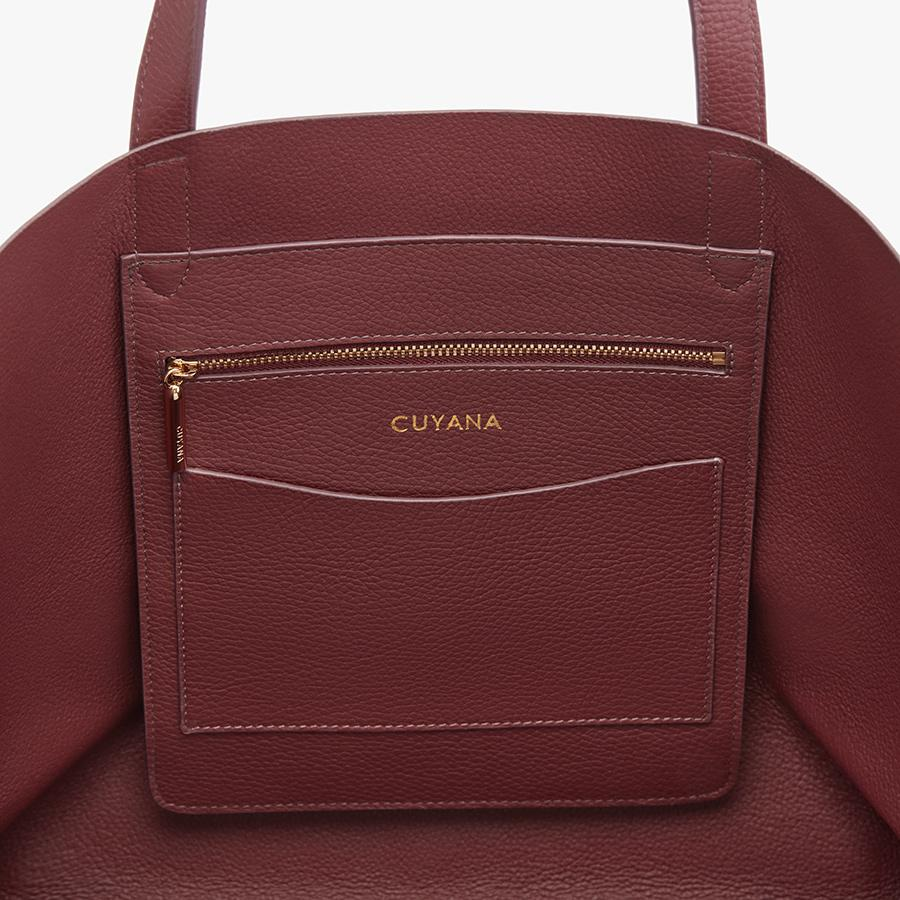 Women's Classic Leather Tote Bag in Merlot Painted   Pebbled Leather by Cuyana 2