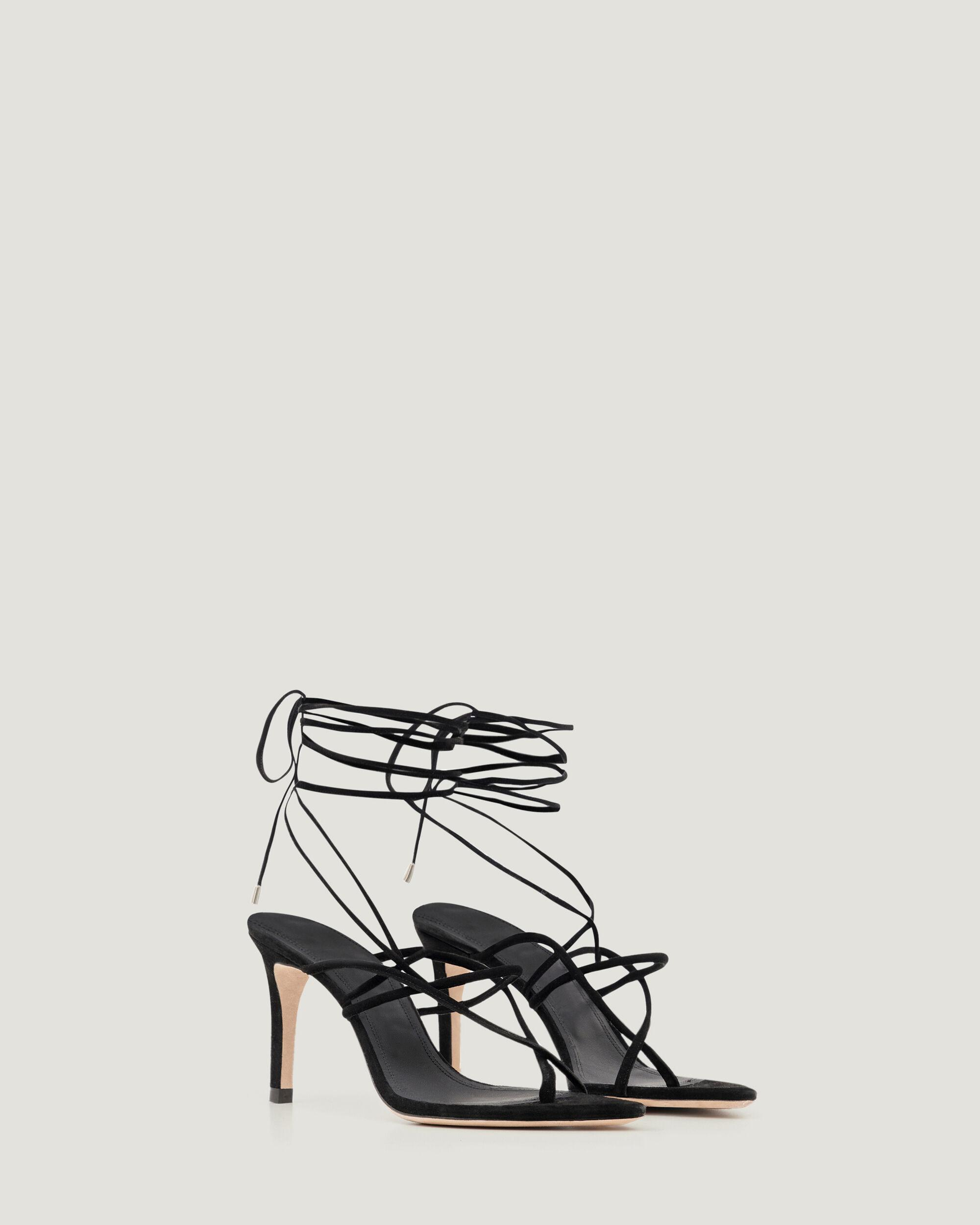 THEMIS LACE UP SUEDE HEELED SANDALS 1