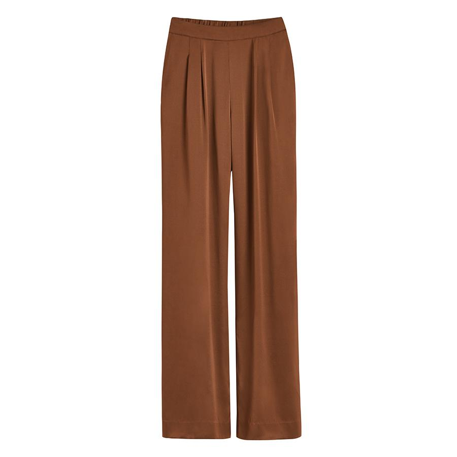 Women's Washable Charmeuse Wide-Leg Pant in Chestnut | Size: