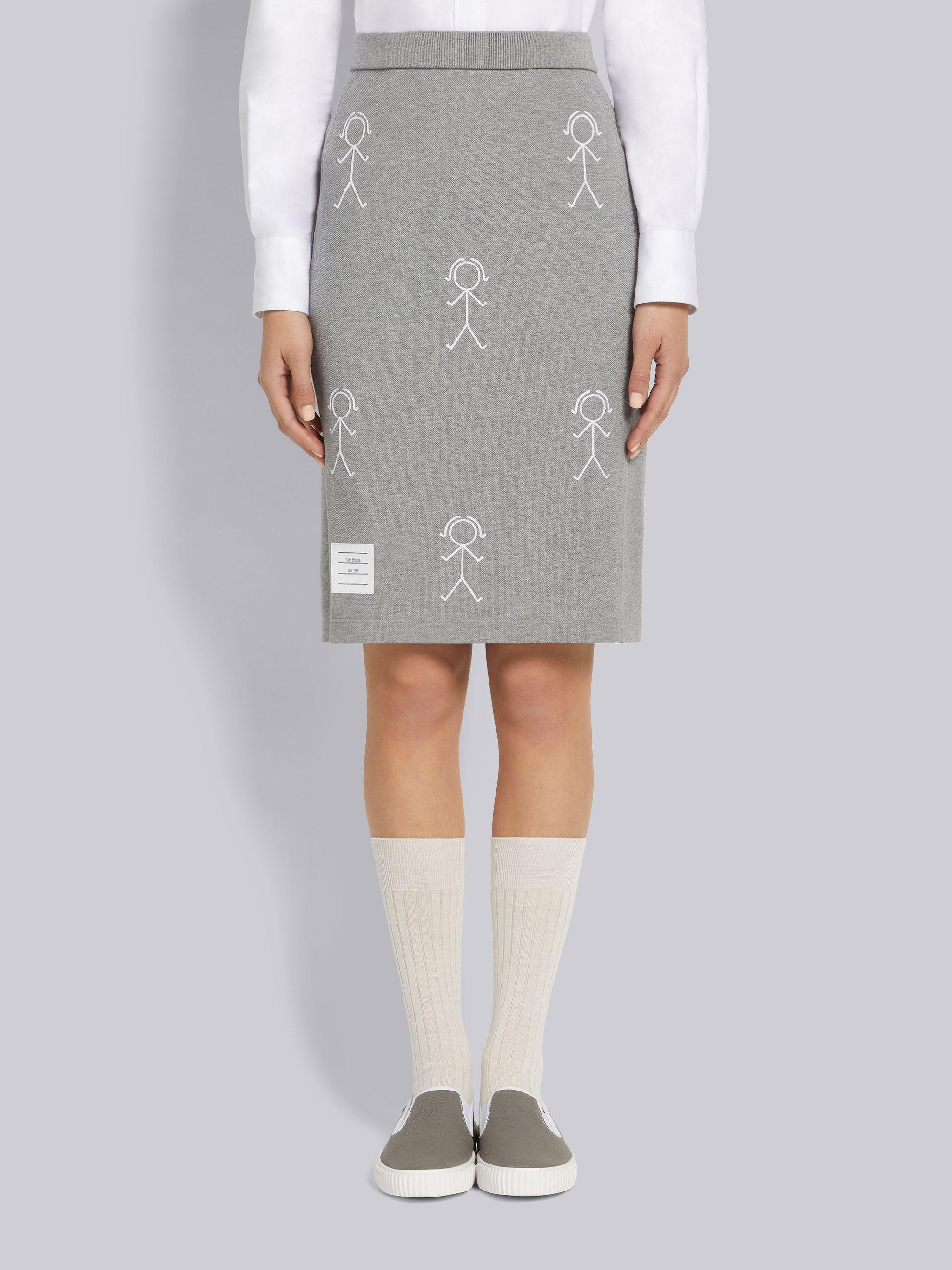 Light Grey Classic Pique Chain Stitch 4-Bar & Mrs. Thom Embroidery Knee Length Skirt