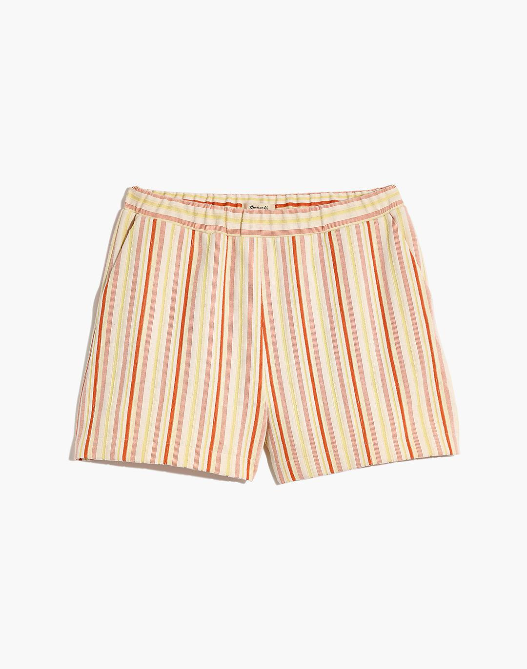 Textural Knit High-Rise Pleated Shorts in Stripe 3