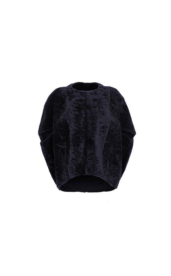 Shearling Cocoon Cape 1