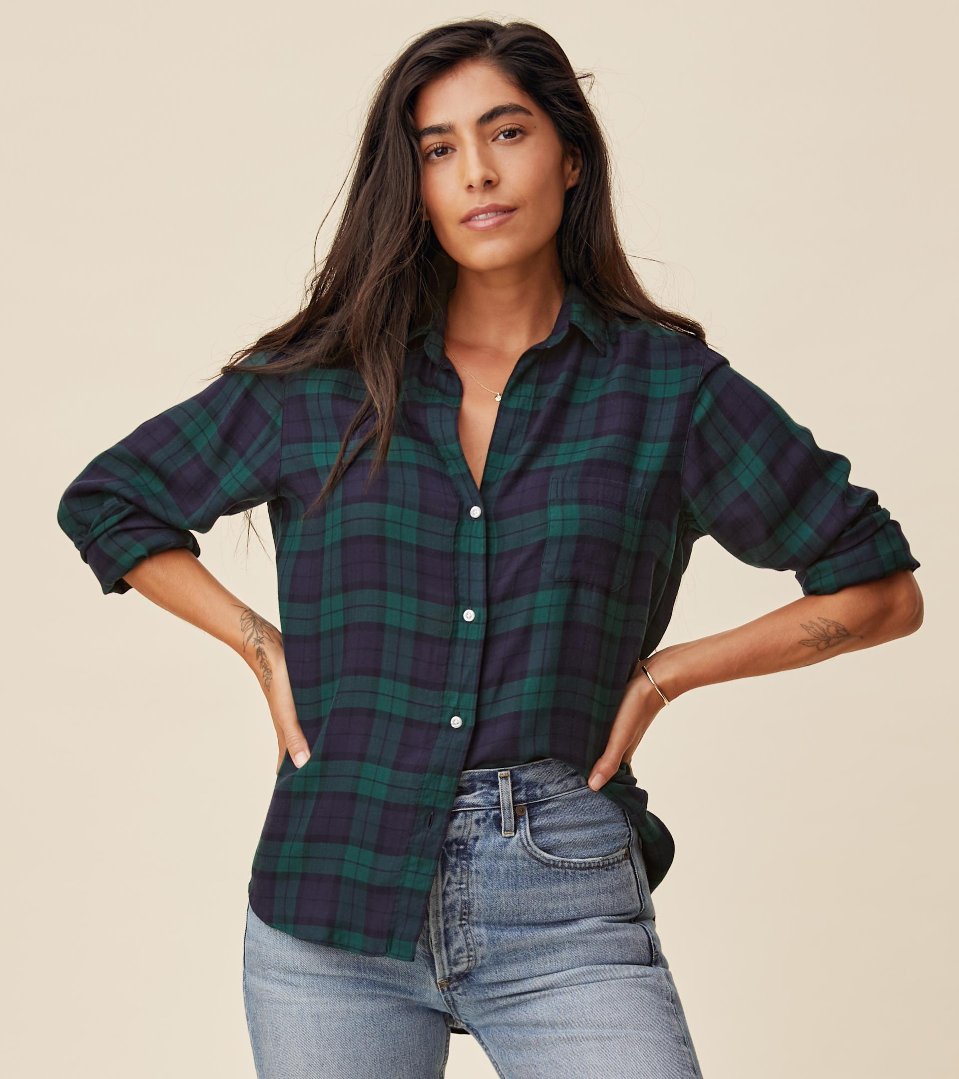 The Hero Navy with Green Plaid, Liquid Flannel