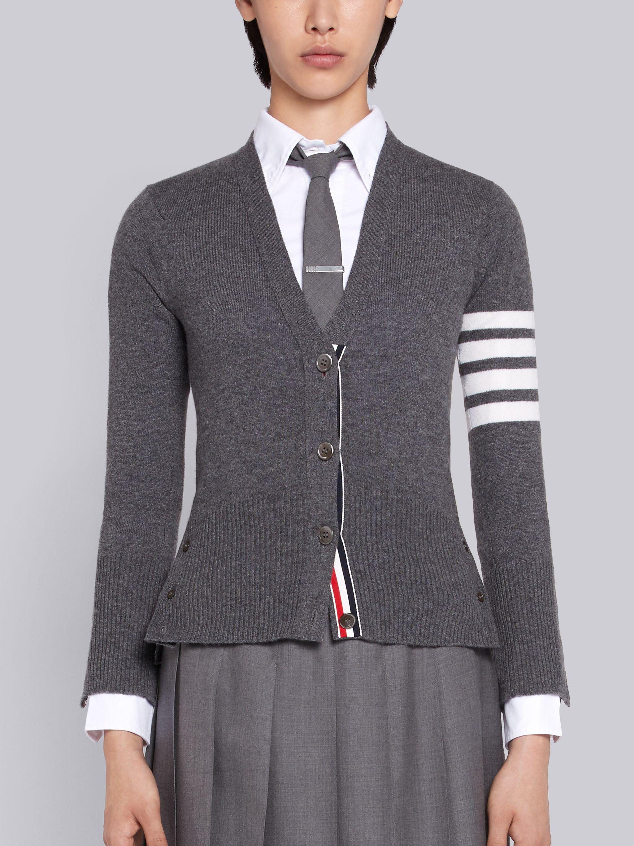 Classic V-Neck Cardigan In Cashmere With White 4-Bar Sleeve Stripe