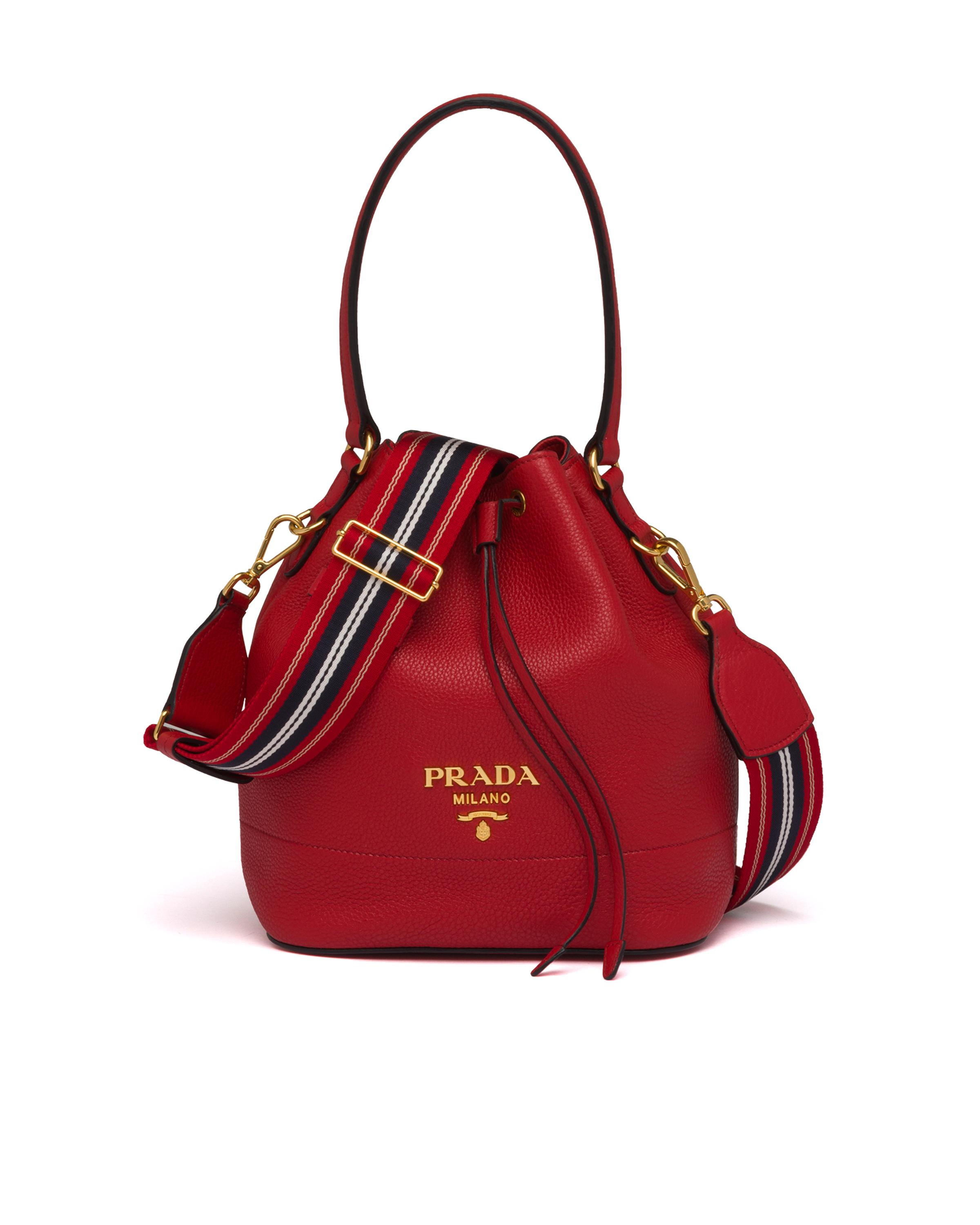Leather Bucket Bag Women Red D 7
