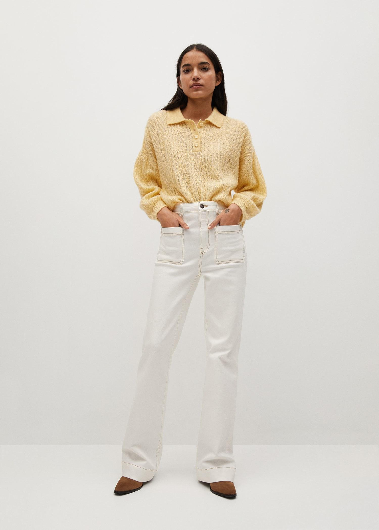 Contrasting knitted polo shirt 1