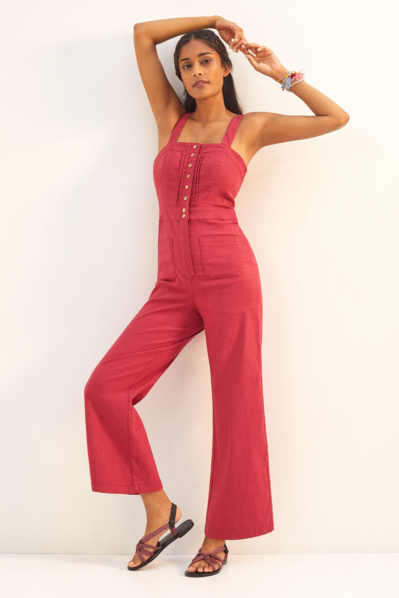 Maeve Colette Cropped Wide-Leg Overalls