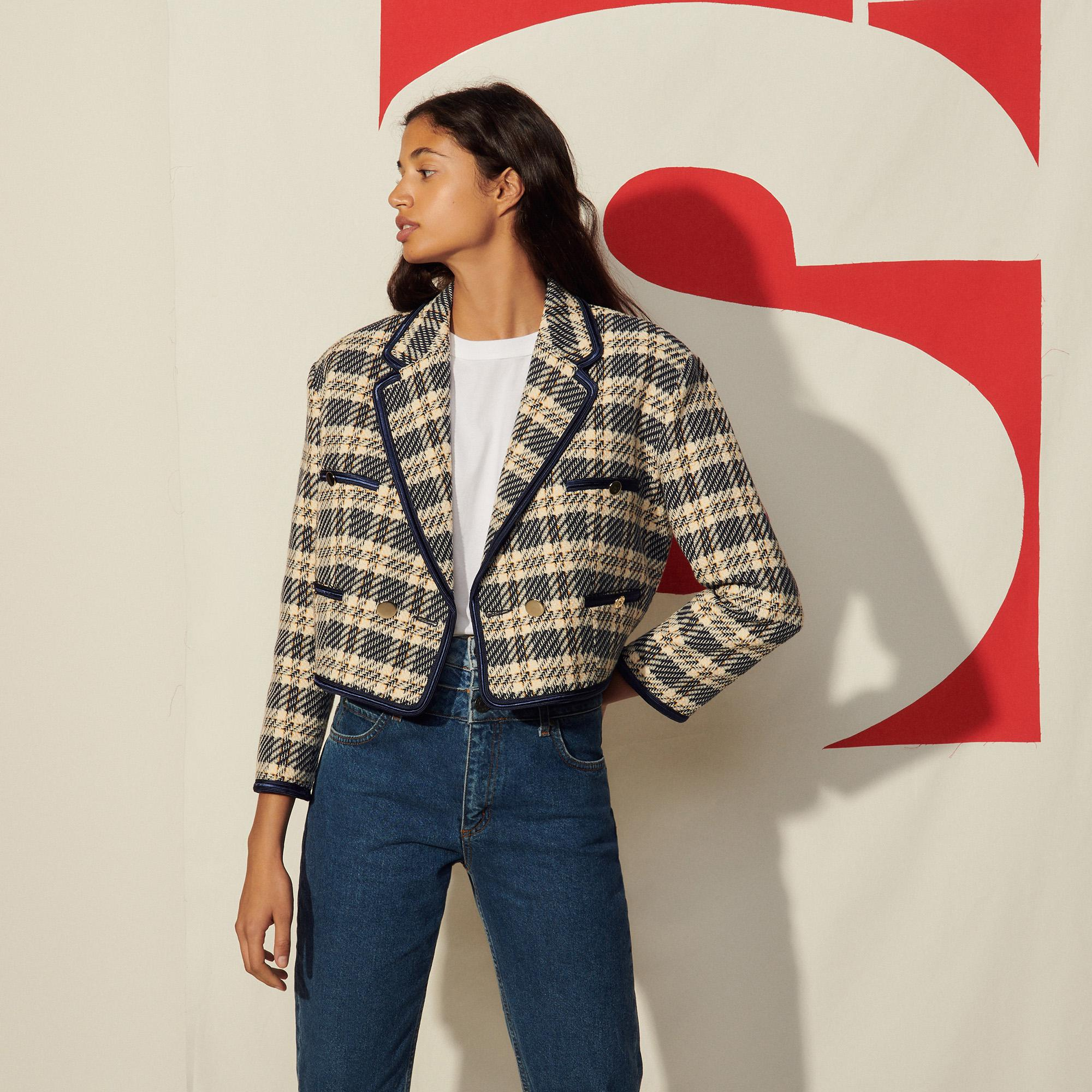 Cropped jacket in checked tweed