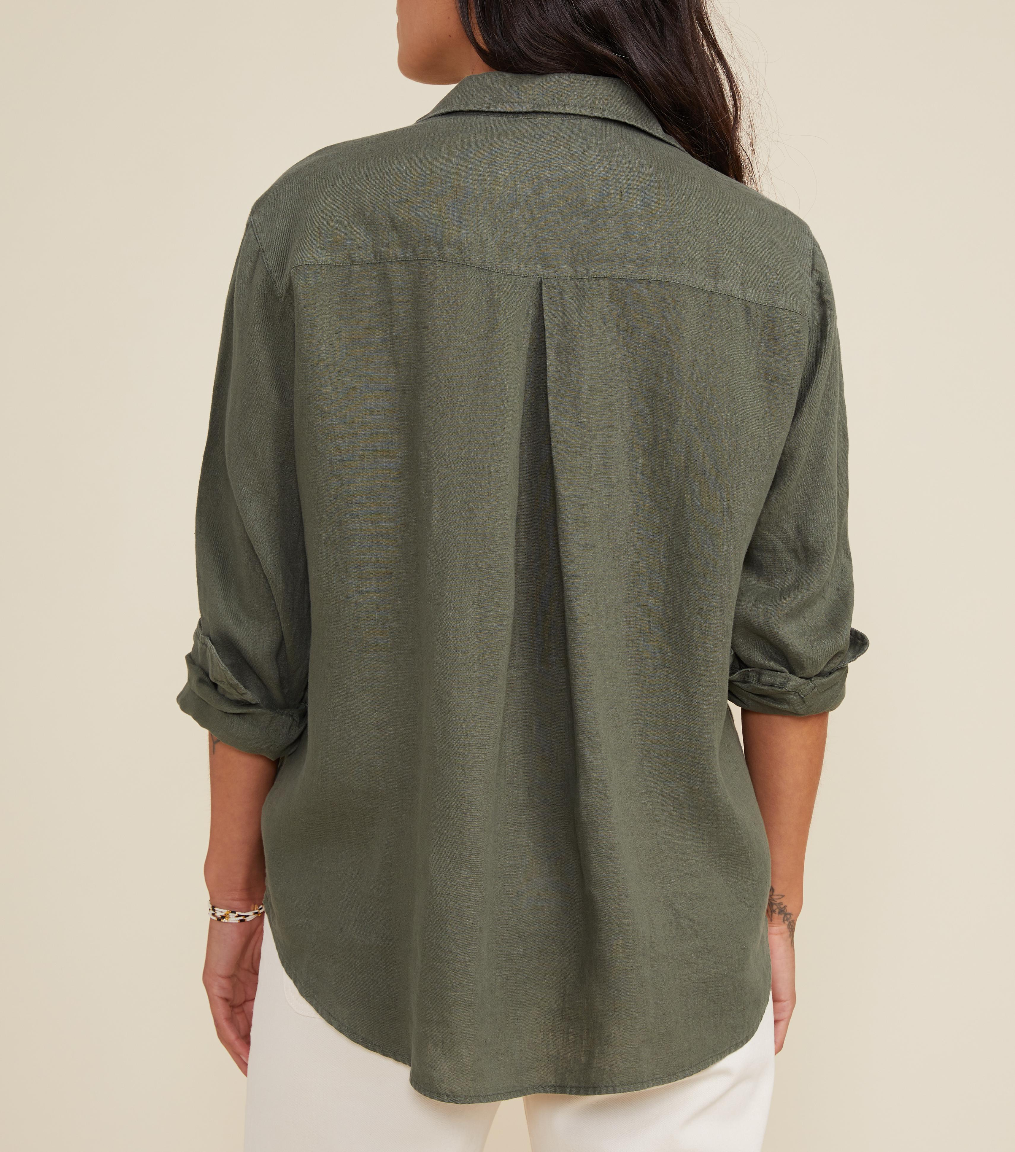 The Hero Button-Up Shirt Army Green, Tumbled Linen 2