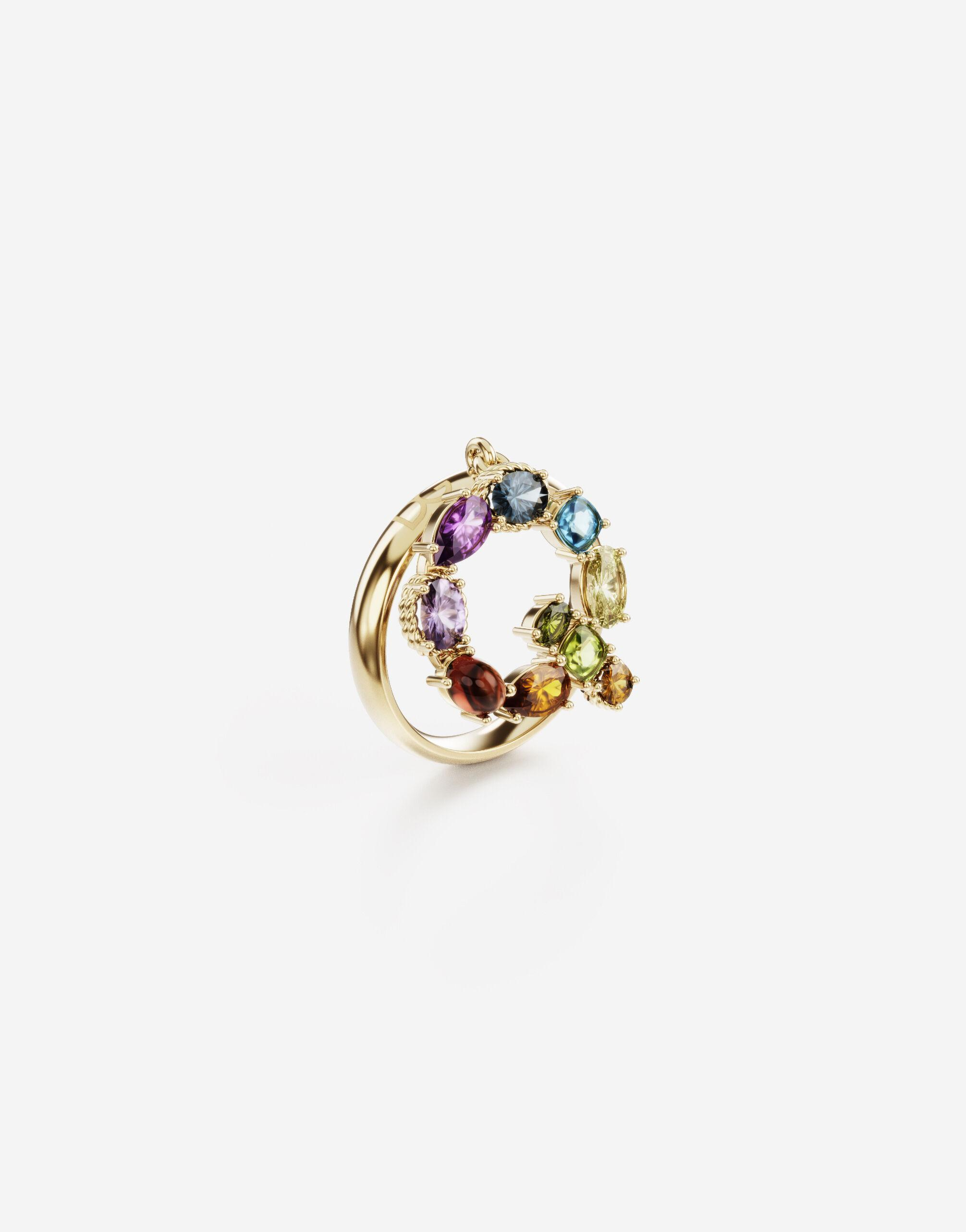 Rainbow alphabet Q ring in yellow gold with multicolor fine gems 2