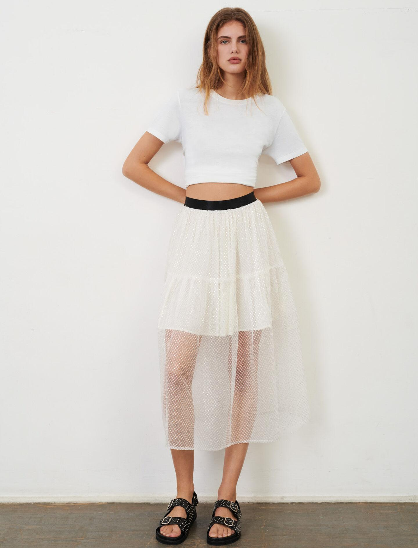 ELASTICATED TULLE AND SEQUIN SKIRT