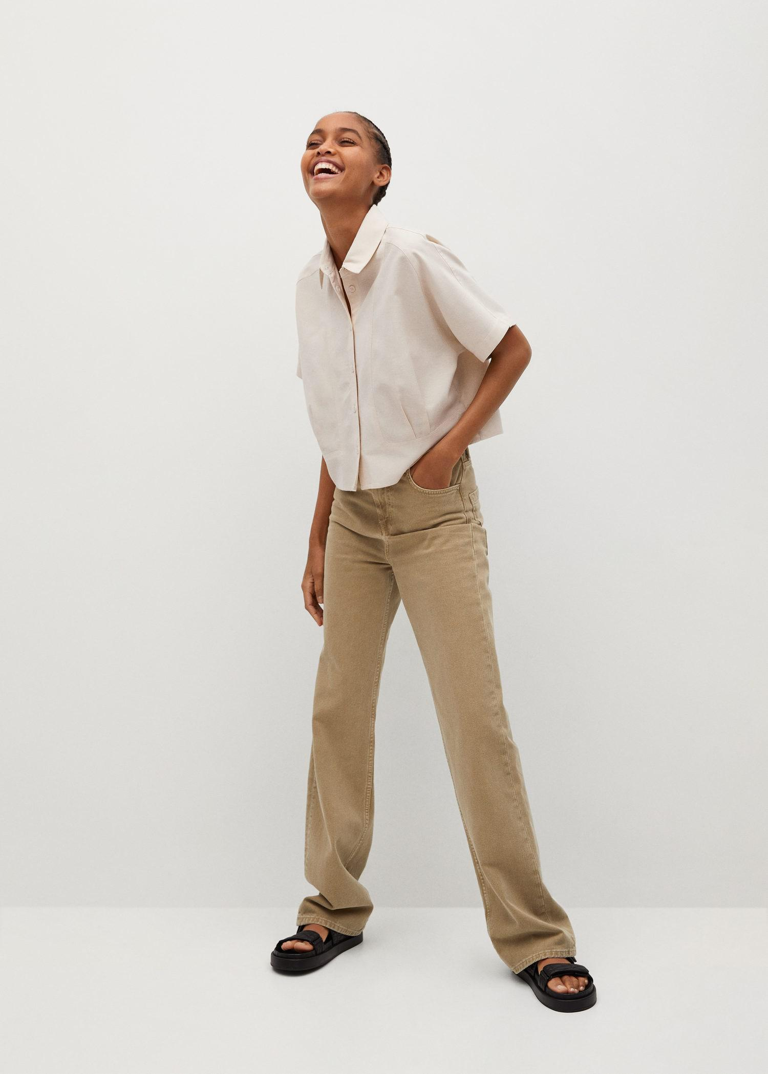 Pleated cropped shirt 1