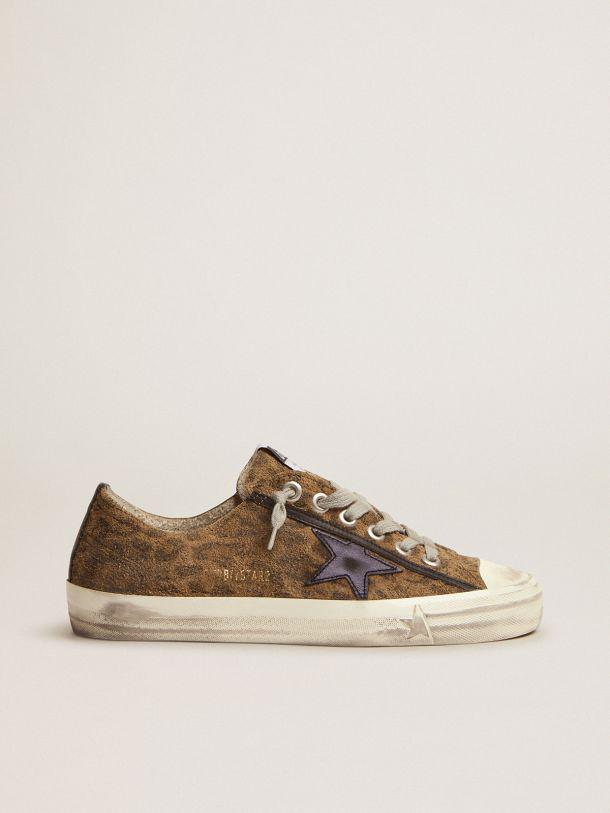 V-star LTD sneakers in leopard-print suede with a black laminated leather star