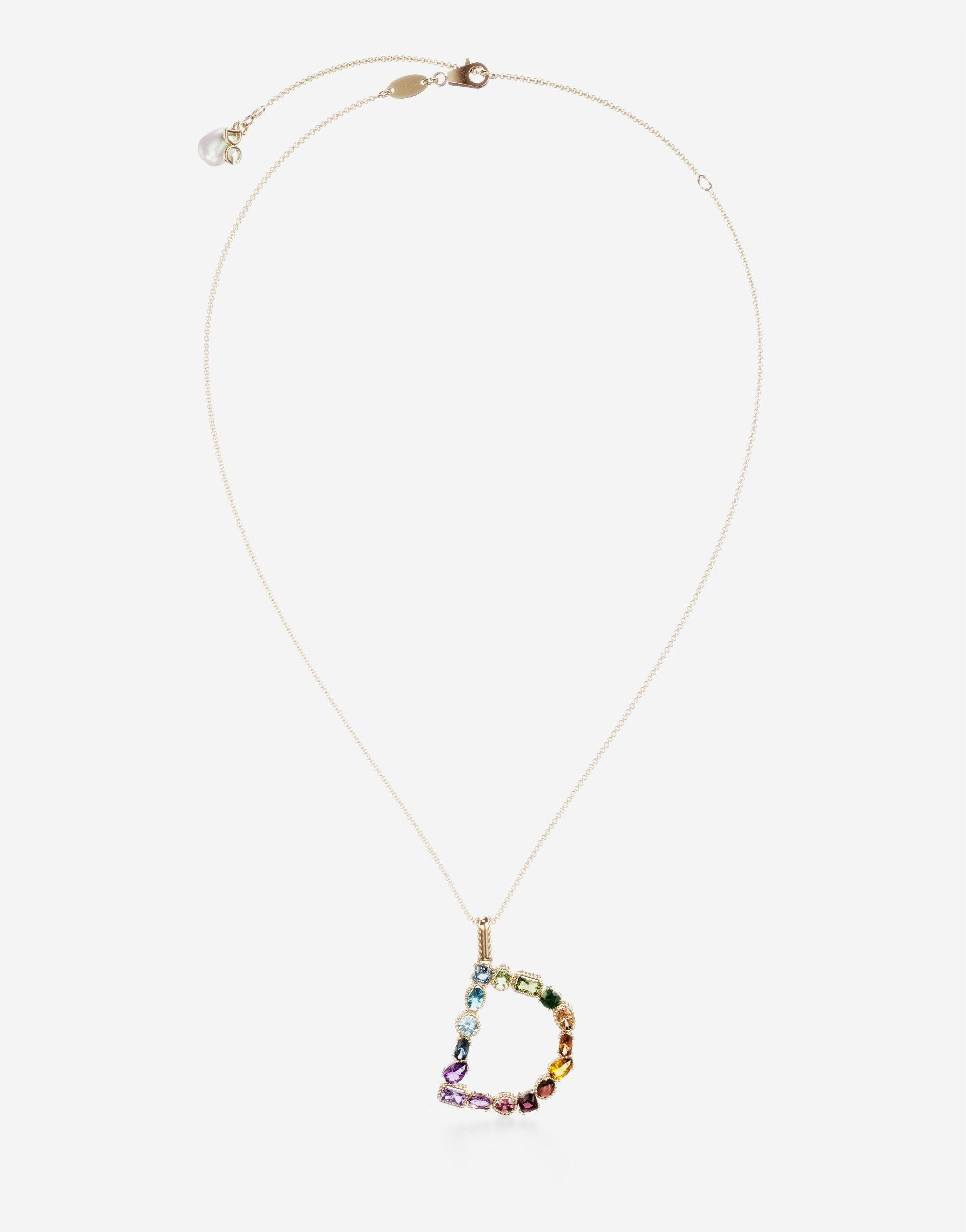 Rainbow alphabet D pendant in yellow gold with multicolor fine gems