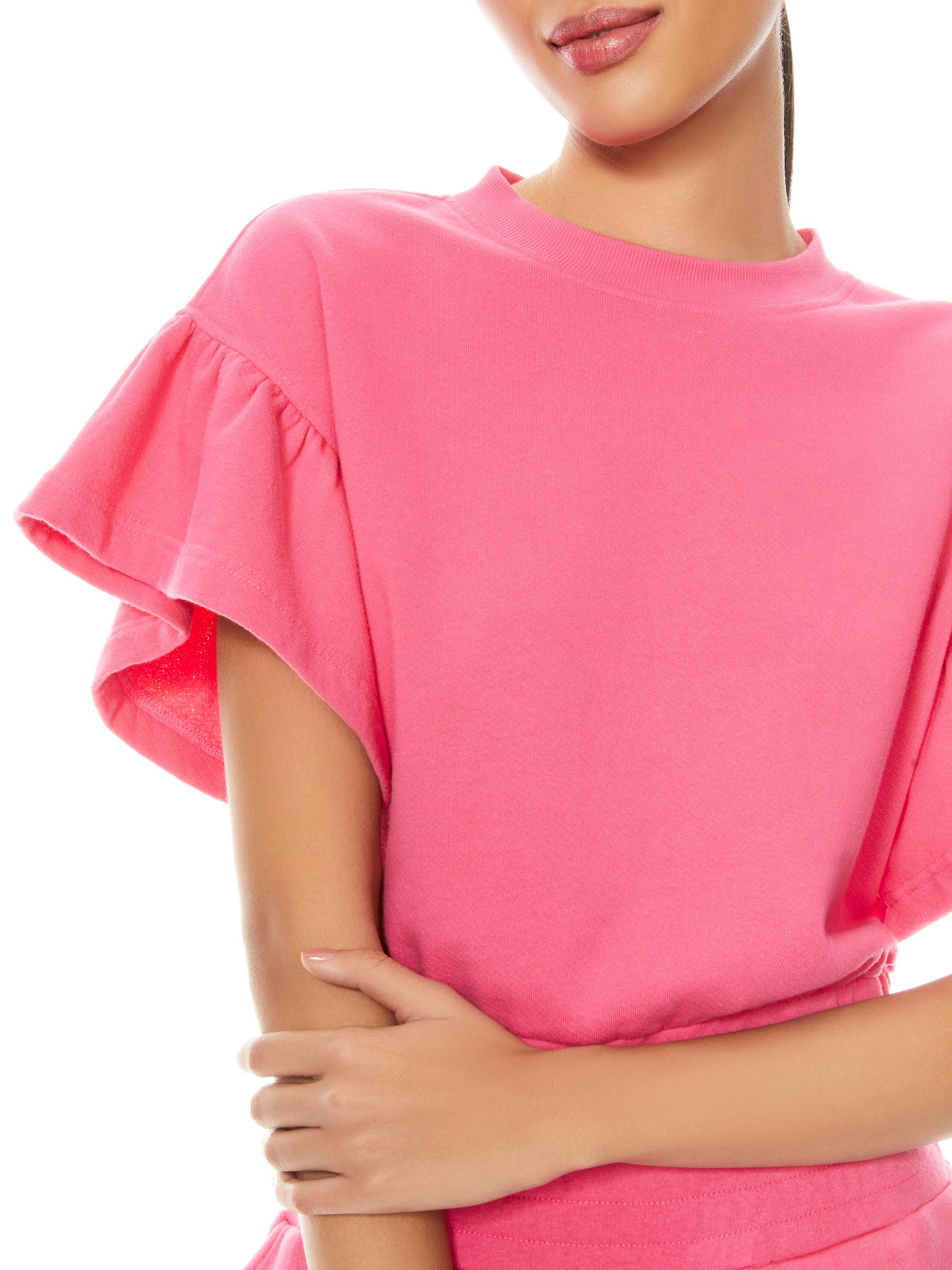 JOLINE RUFFLE SLEEVE CROPPED PULLOVER 4